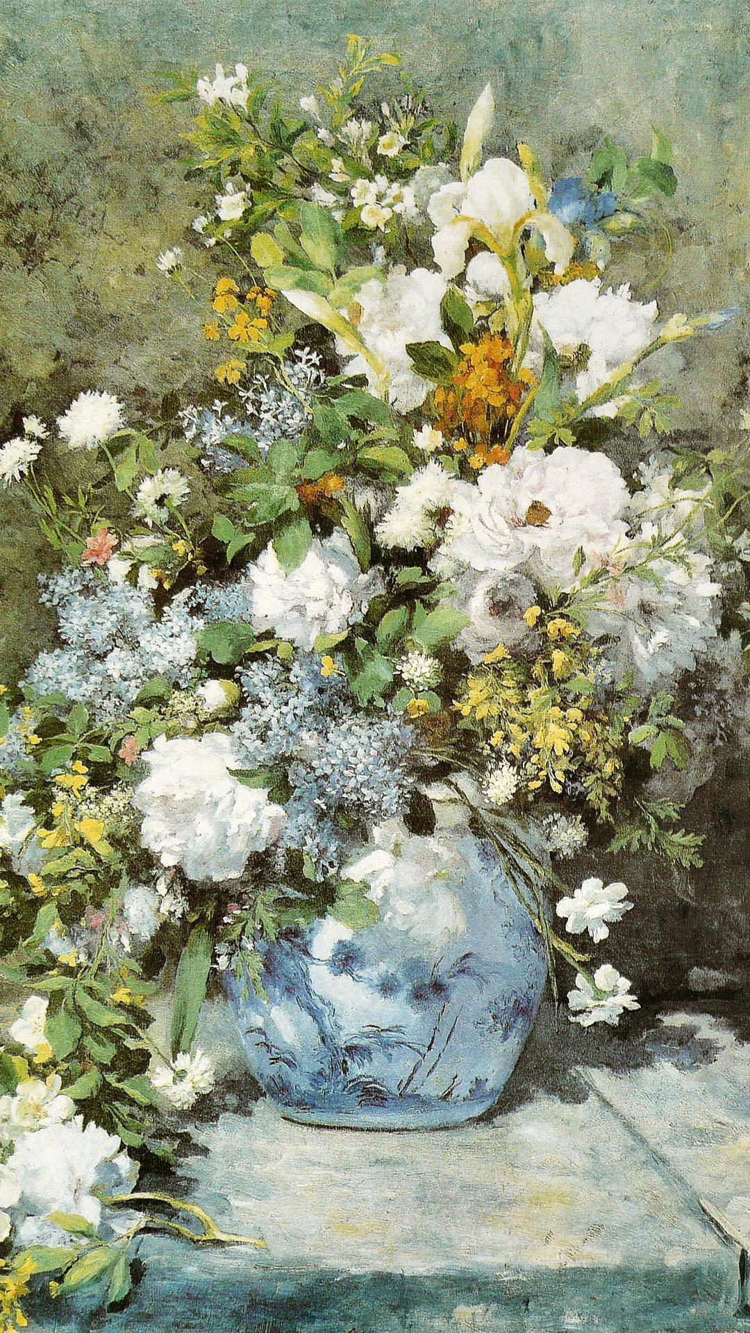 ルノワール 春の花束 Pierre Auguste Renoir - Bouquet printanier 1080x1920