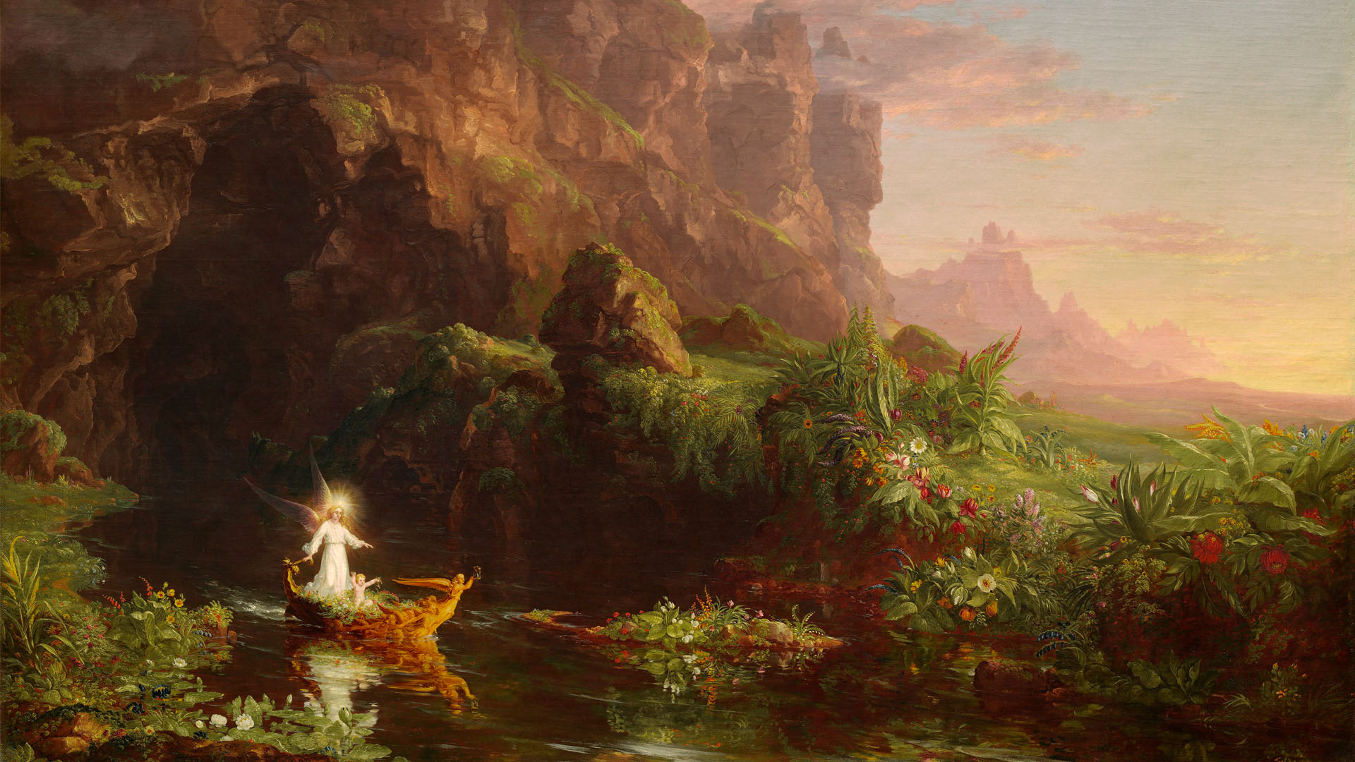 Thomas Cole - The Voyage of Life Childhood 1920x1080