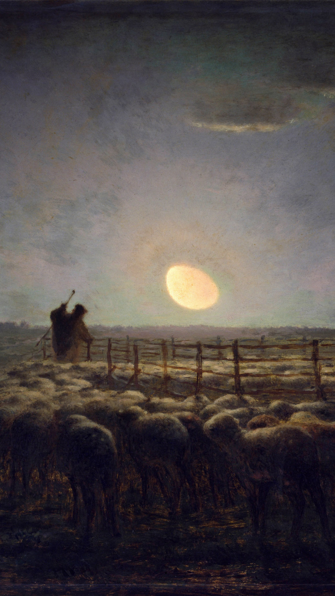 Jean-François Millet - The Sheepfold Moonlight 1080x1920