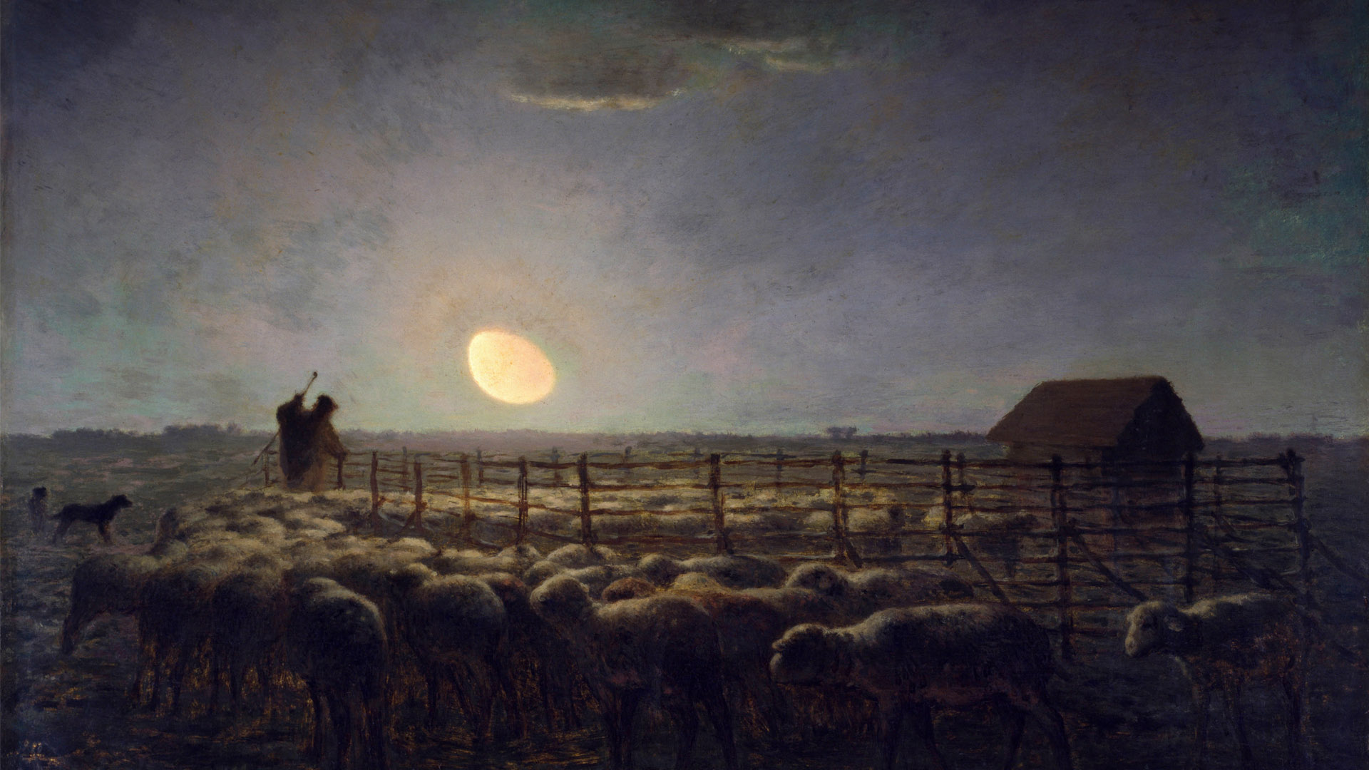 Jean-François Millet - The Sheepfold Moonlight 1920x1080