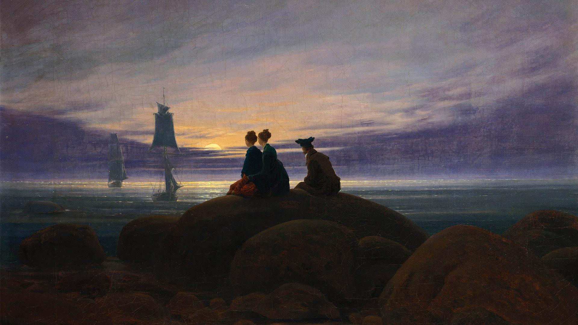 Caspar David Friedrich - Moonrise by the Sea 1920x1080