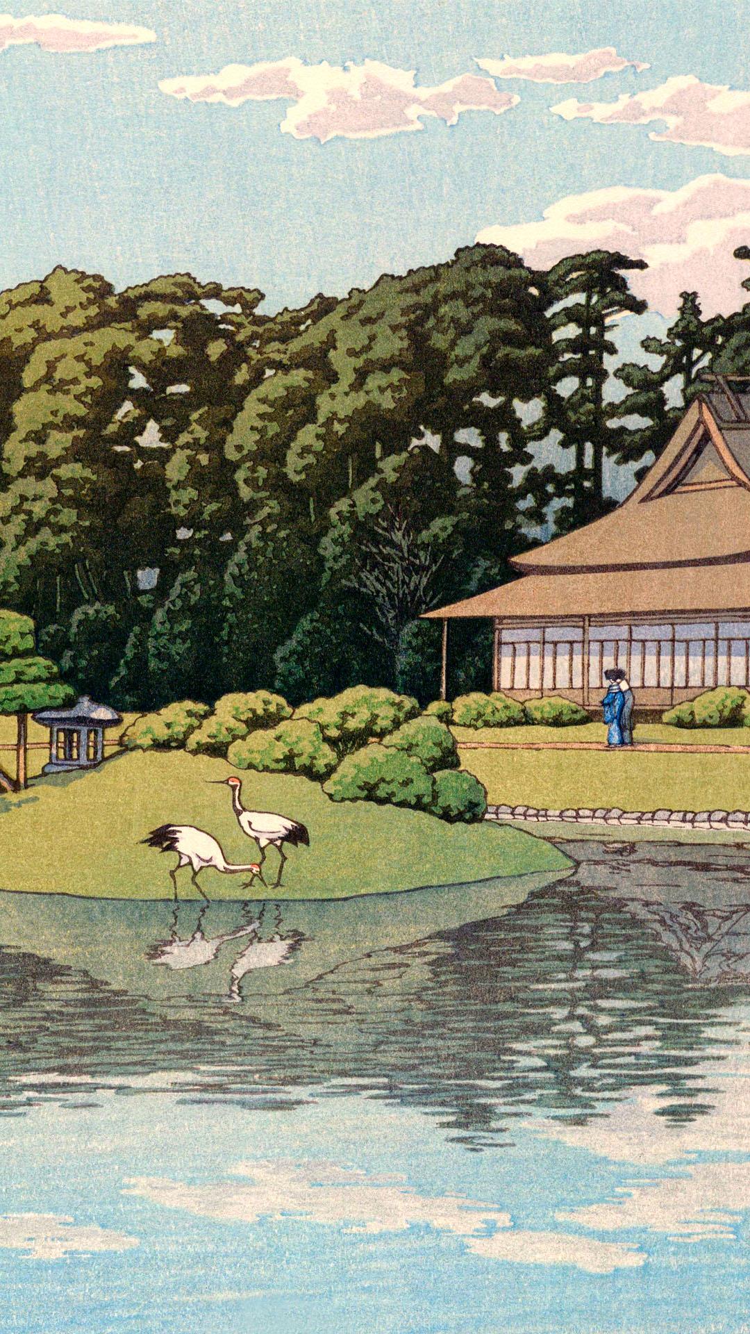 川瀬巴水 岡山後楽園 Kawase Hasui - Okayama korakuen 1080x1920