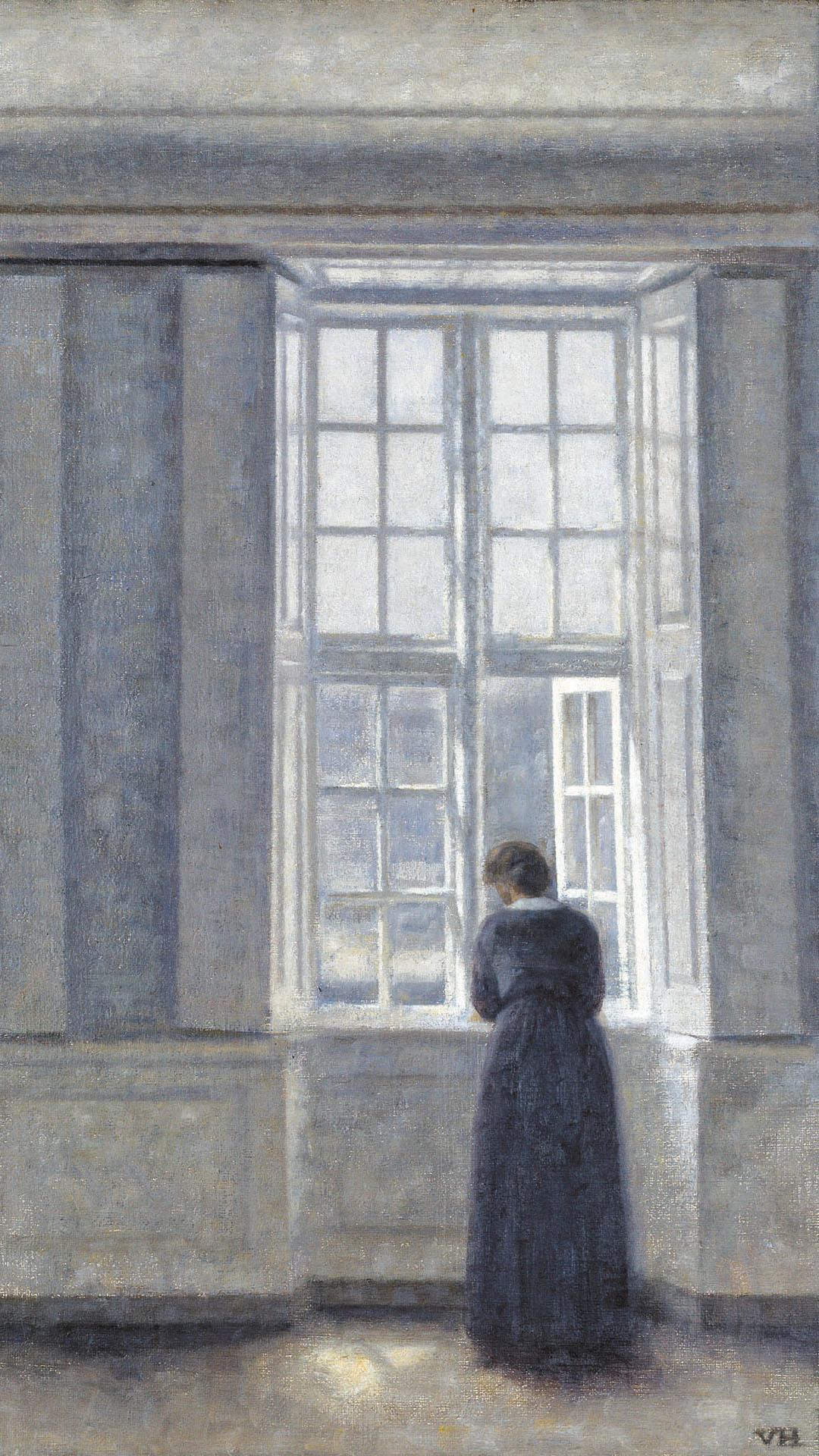 Vilhelm Hammershoi - Tall windows 1080x1920