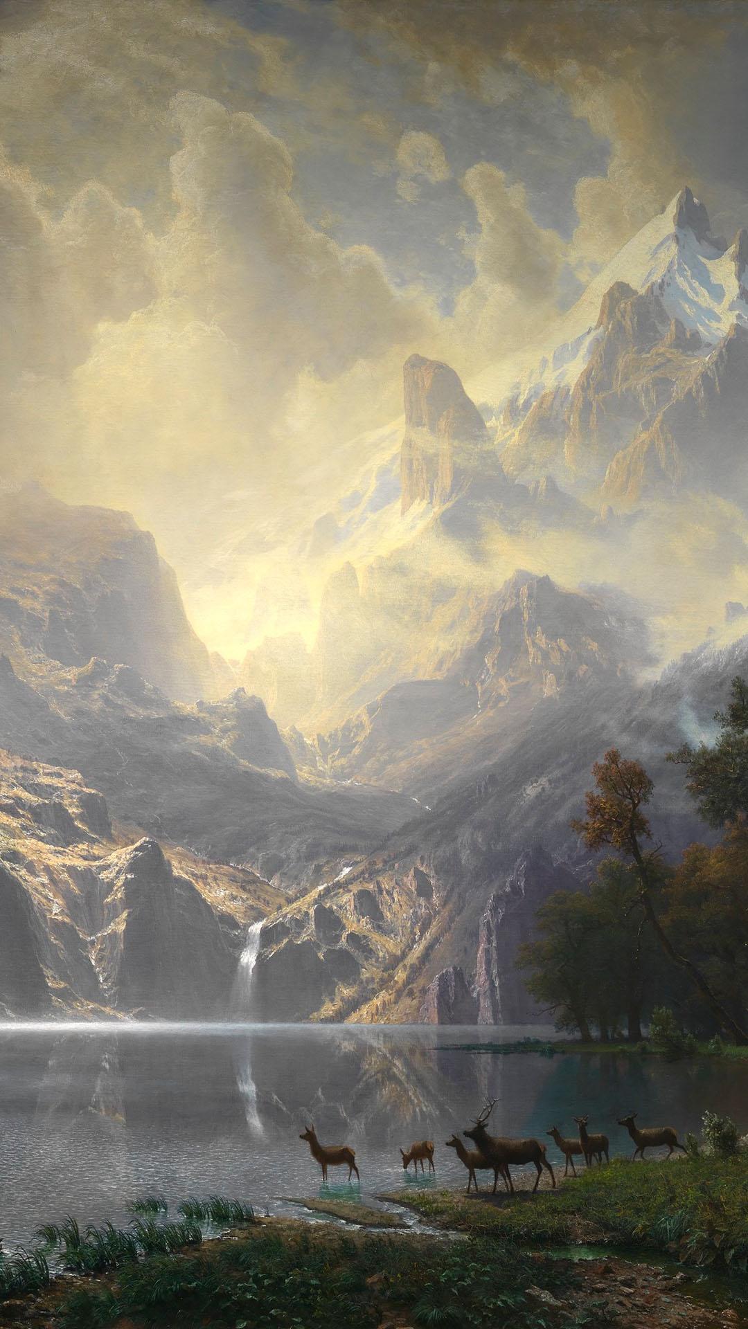 Albert Bierstadt - Among the Sierra Nevada, California 1080x1920
