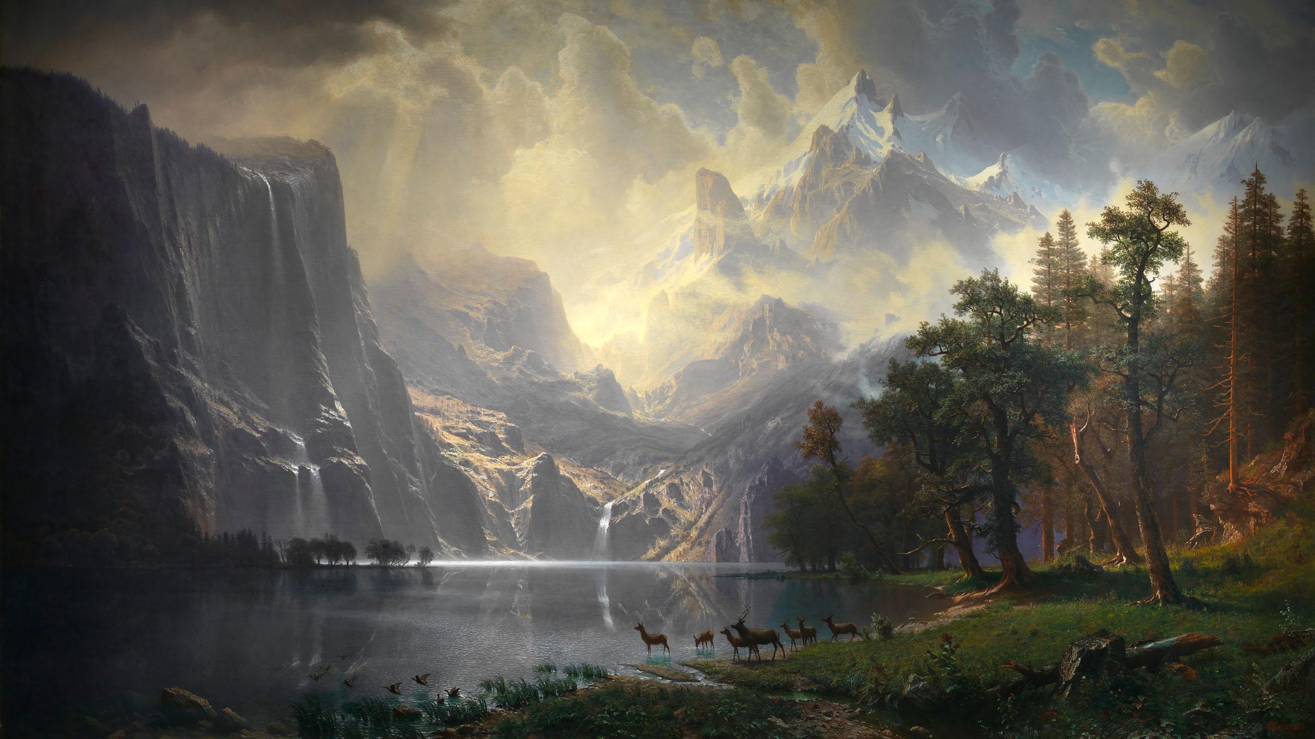Albert Bierstadt - Among the Sierra Nevada, California 2560x1440
