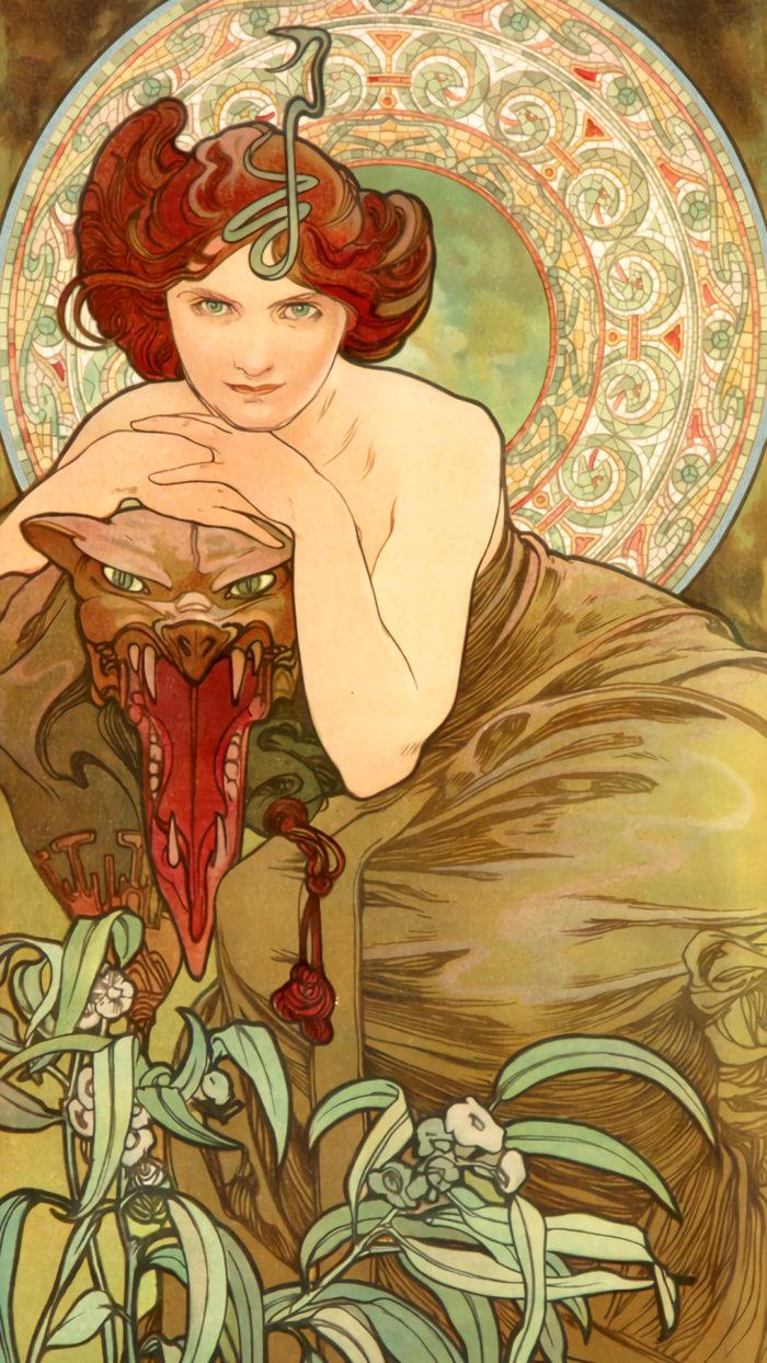 Alfons Maria Mucha - The Four Precious Stones Emerald 1080x1920