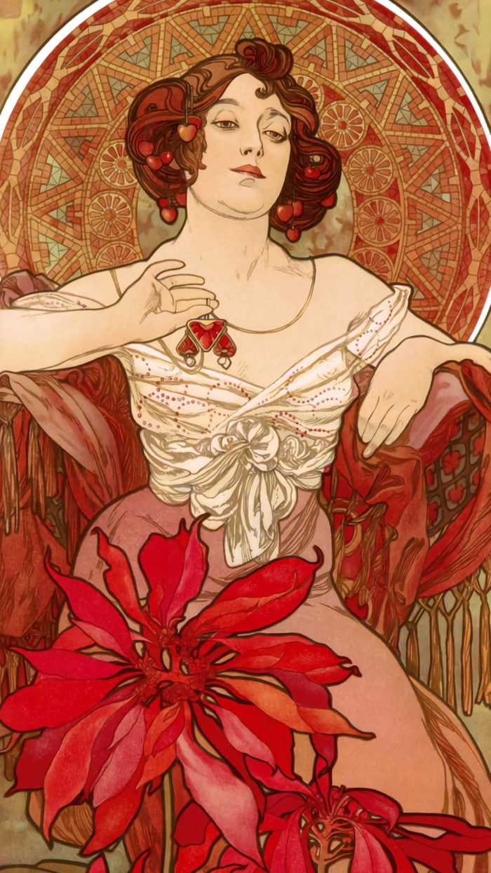 Alfons Maria Mucha - The Four Precious Stones Ruby 1080x1920