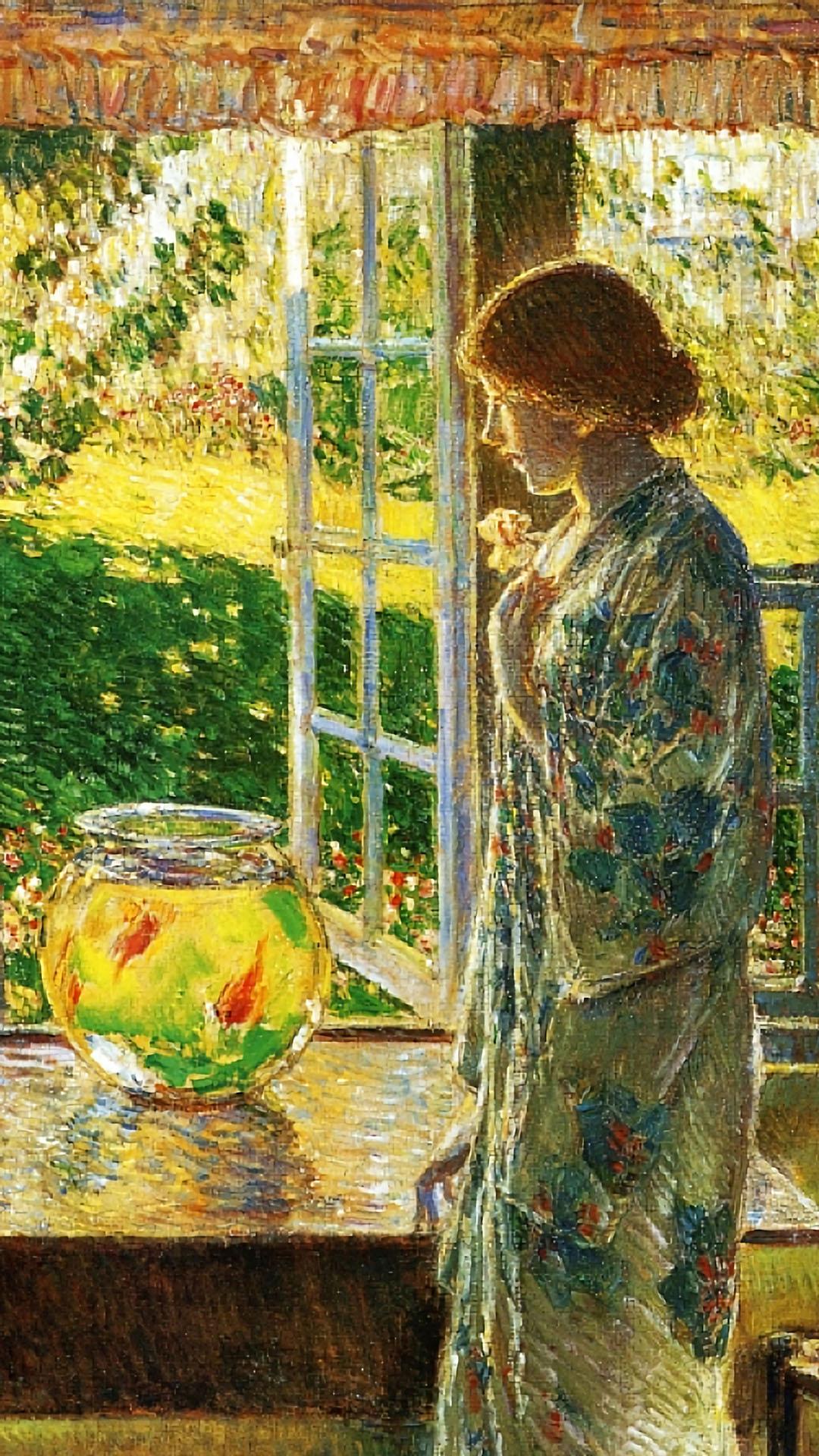 Frederick Childe Hassam - The Goldfish Window 1080x1920