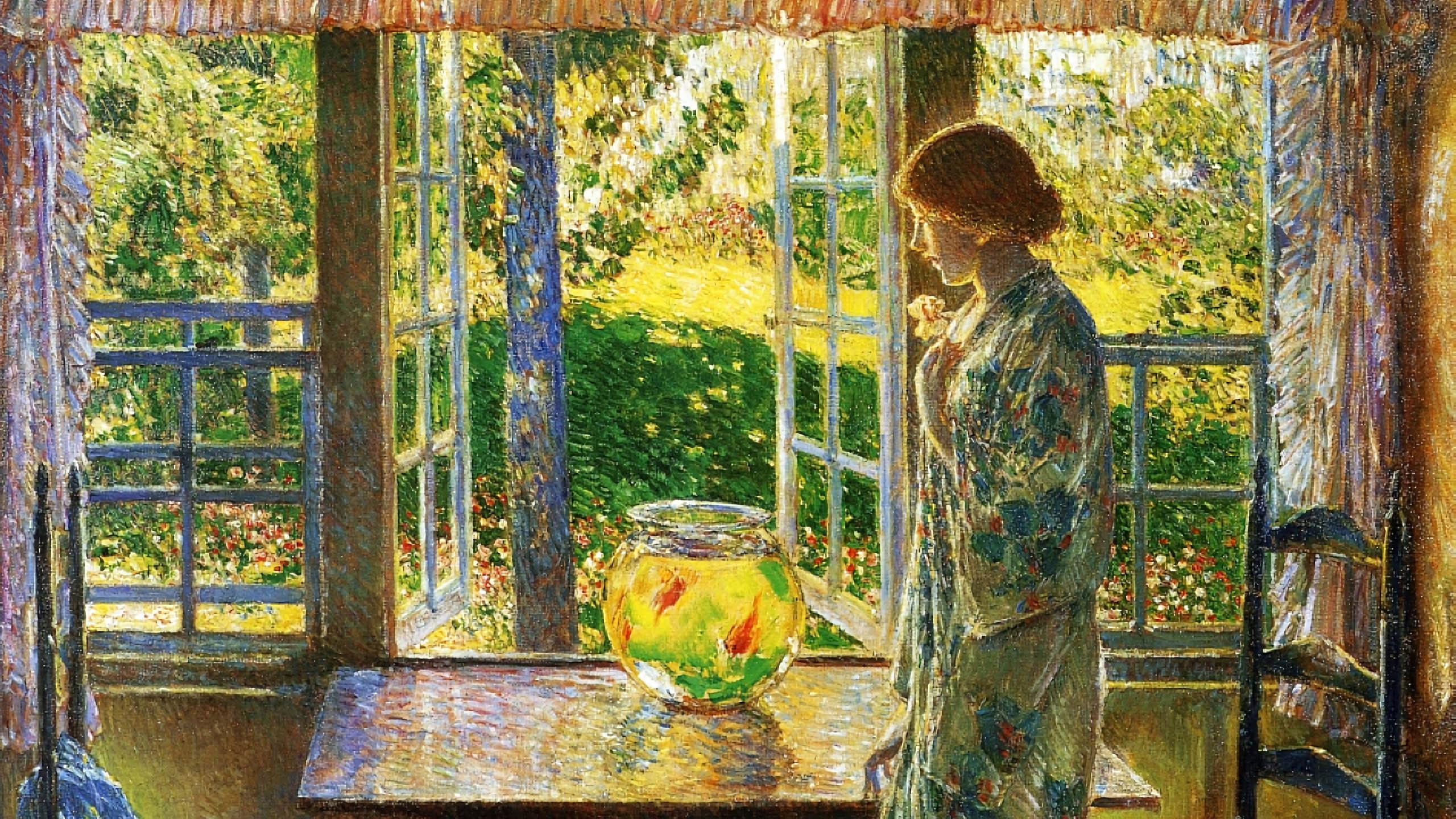 Frederick Childe Hassam - The Goldfish Window 2560x1440