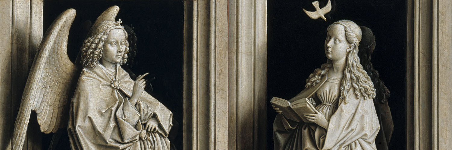 Jan van Eyck - The Annunciation Diptych 1500x500