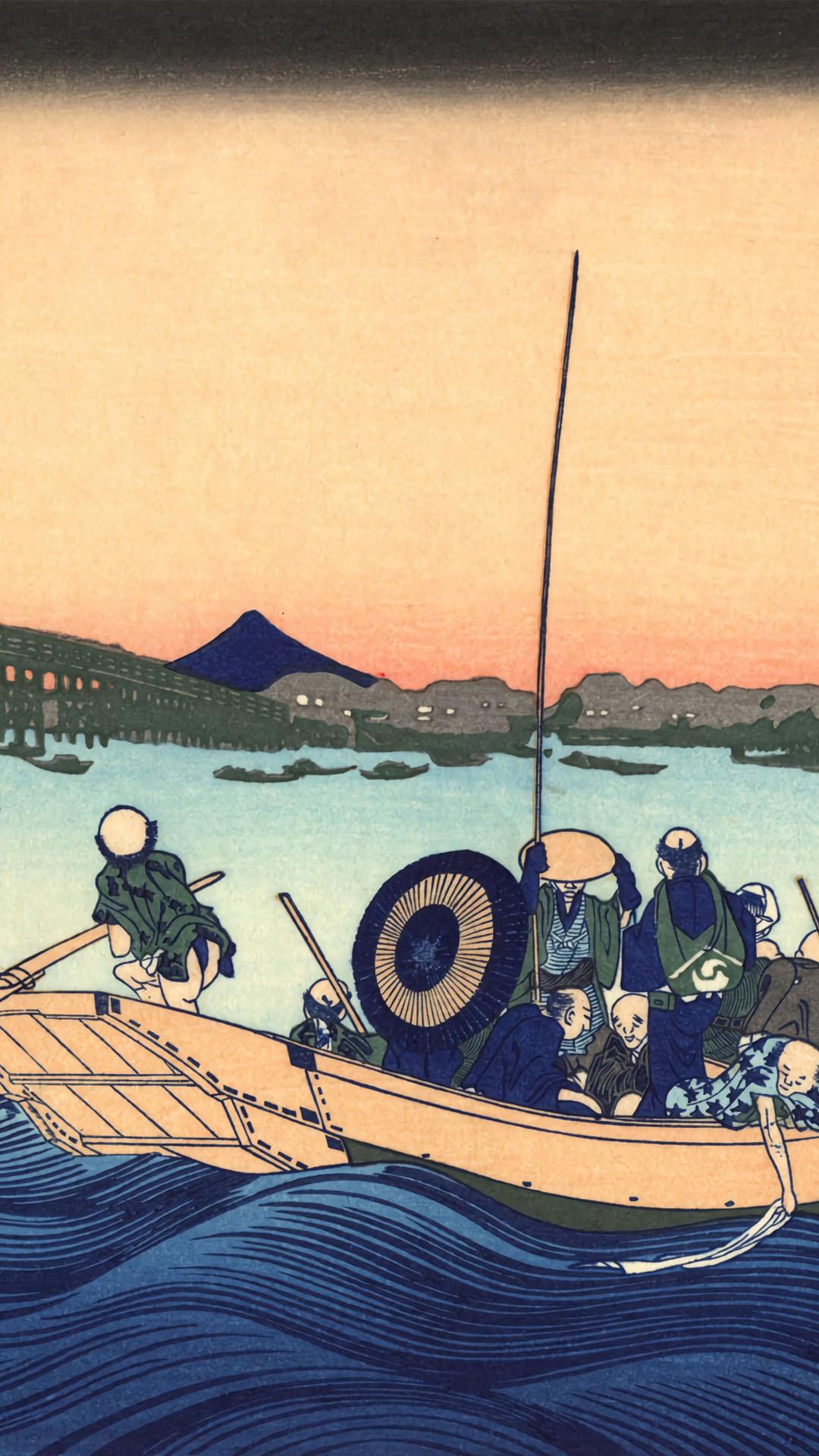 Katsushika Hokusai - Onmagashi yori ryogokubashi yuhi mi 1080x1920