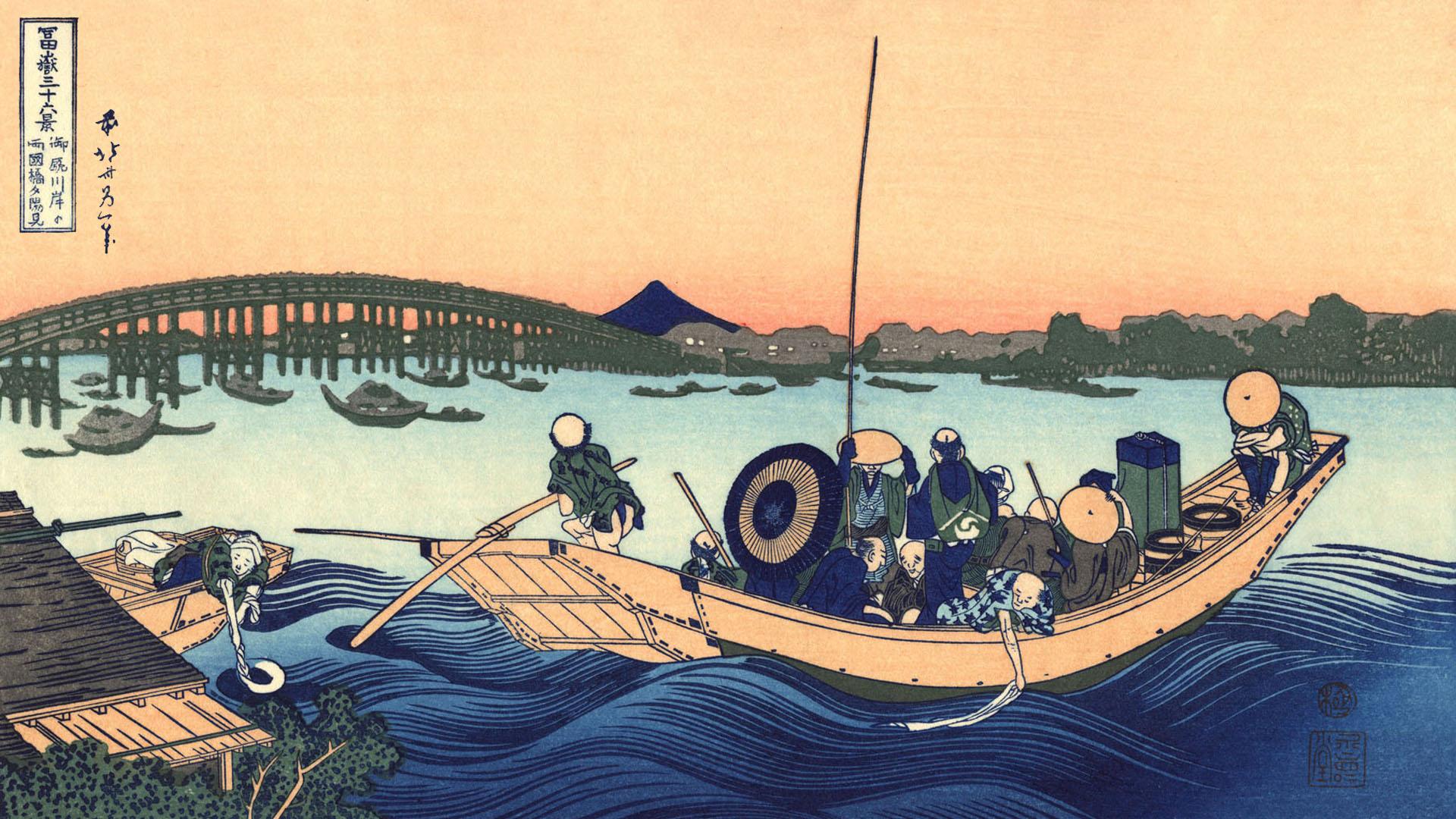 Katsushika Hokusai - Onmagashi yori ryogokubashi yuhi mi 1920x1080