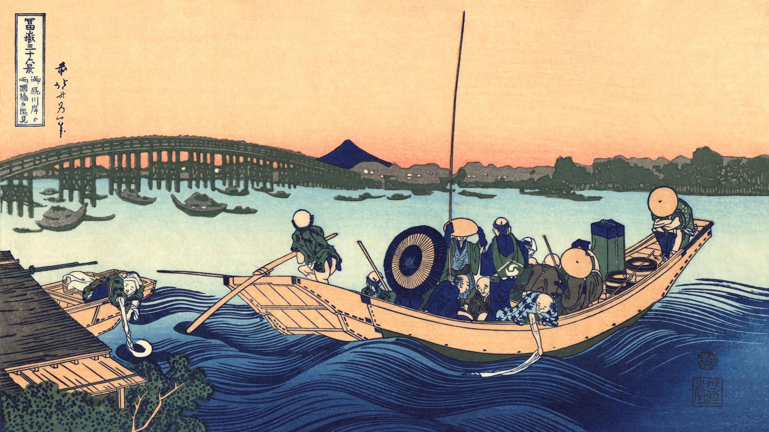 Katsushika Hokusai - Onmagashi yori ryogokubashi yuhi mi 2560-1440