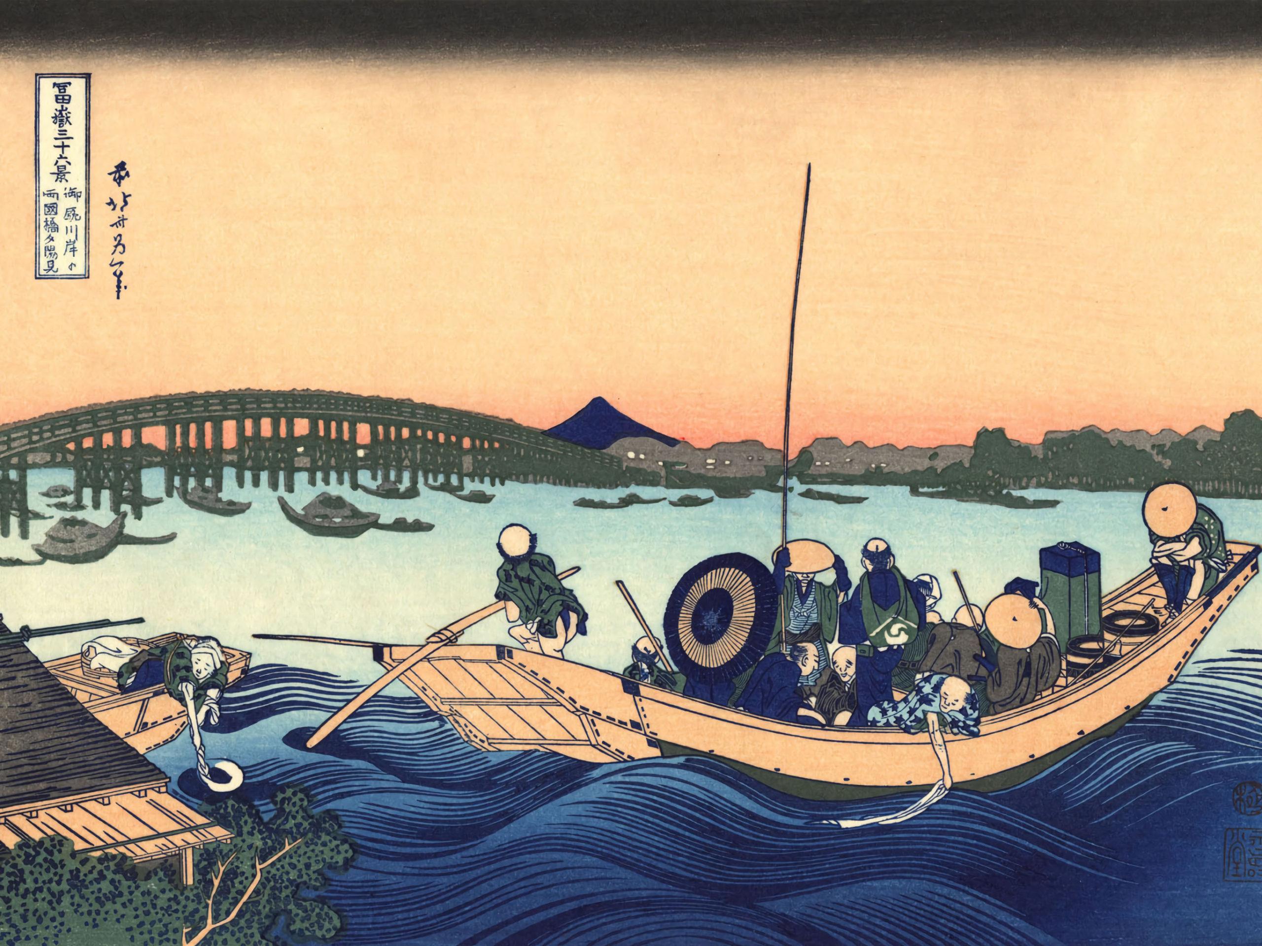 Katsushika Hokusai - Onmagashi yori ryogokubashi yuhi mi 2732x2048
