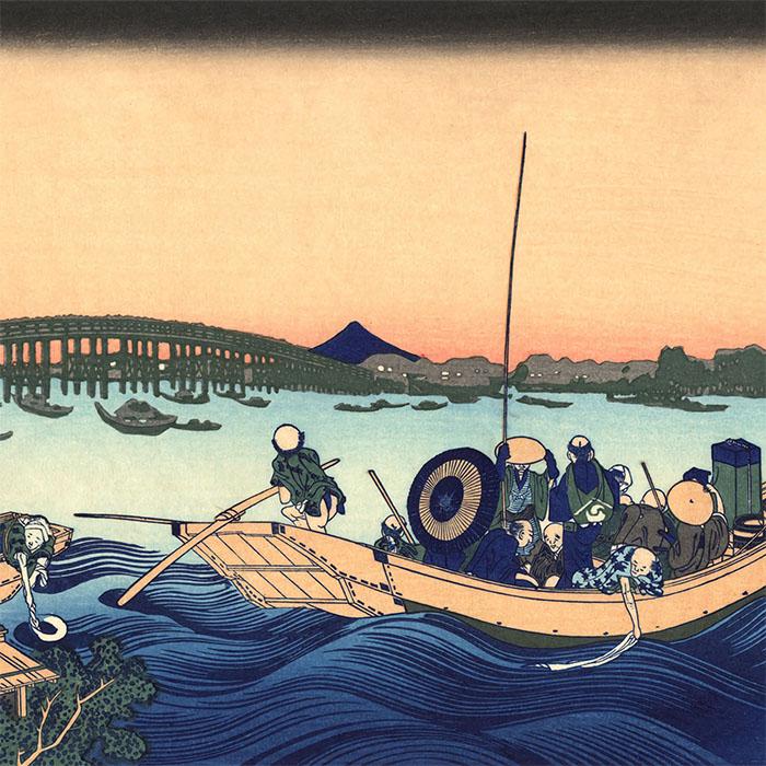 Katsushika Hokusai - Onmagashi yori ryogokubashi yuhi mi d