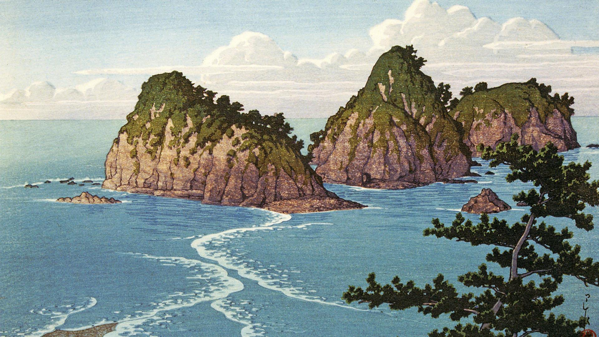 Kawase Hasui - Izu dougashima 1920x1080