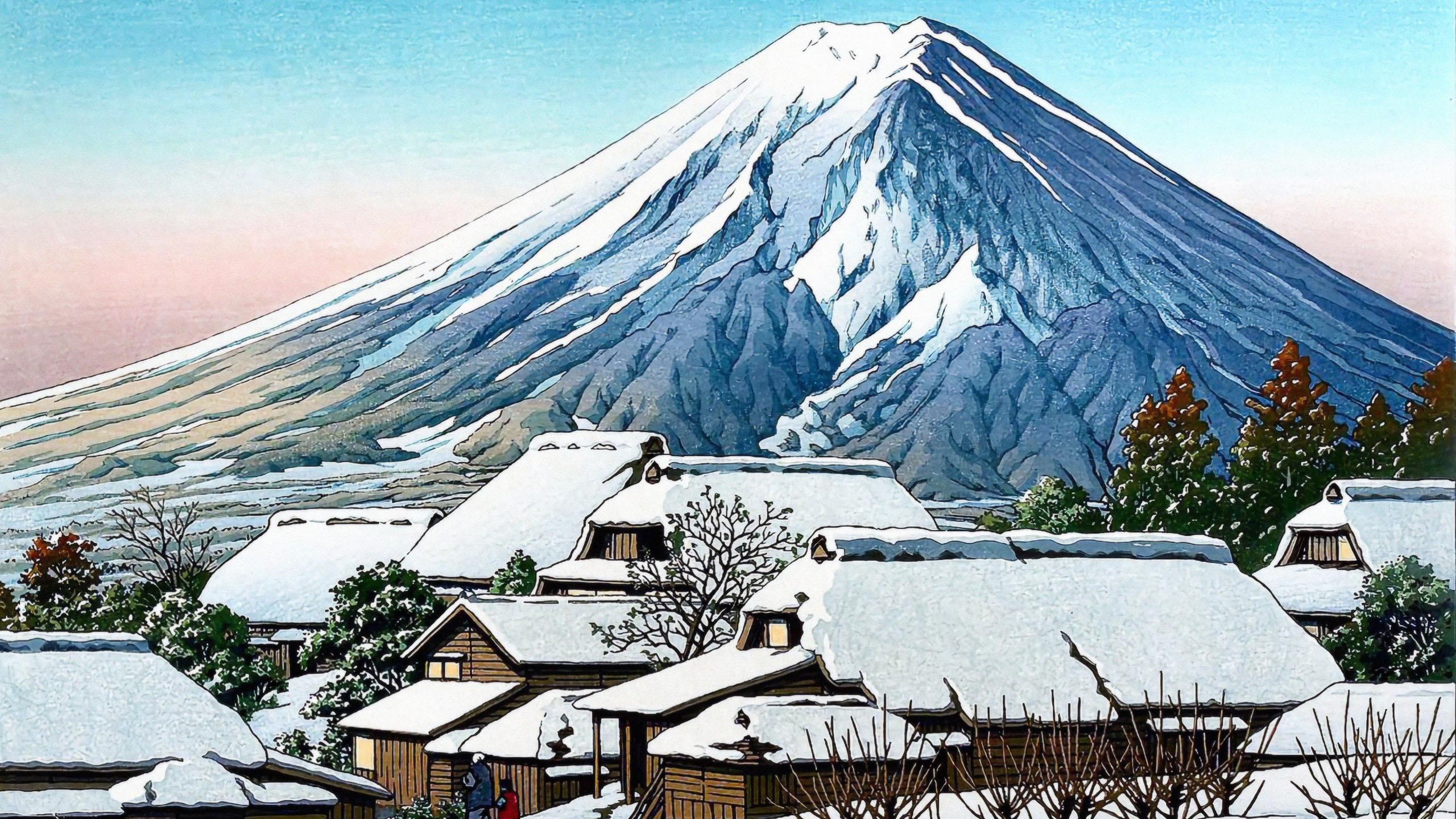Kawase Hasui - Yoshida no yukibare 2560x1440