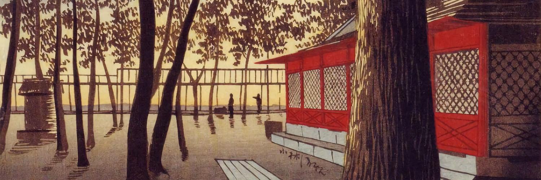 Kobayashi Kiyochika - Kanda yakumo jinja akatsuki 1500x500