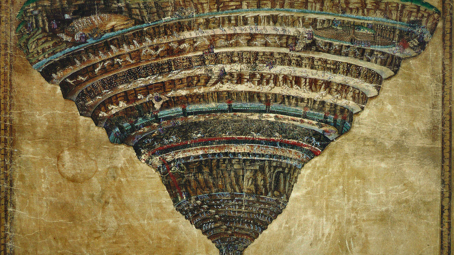 Sandro Botticelli Map of hell 1920x1080