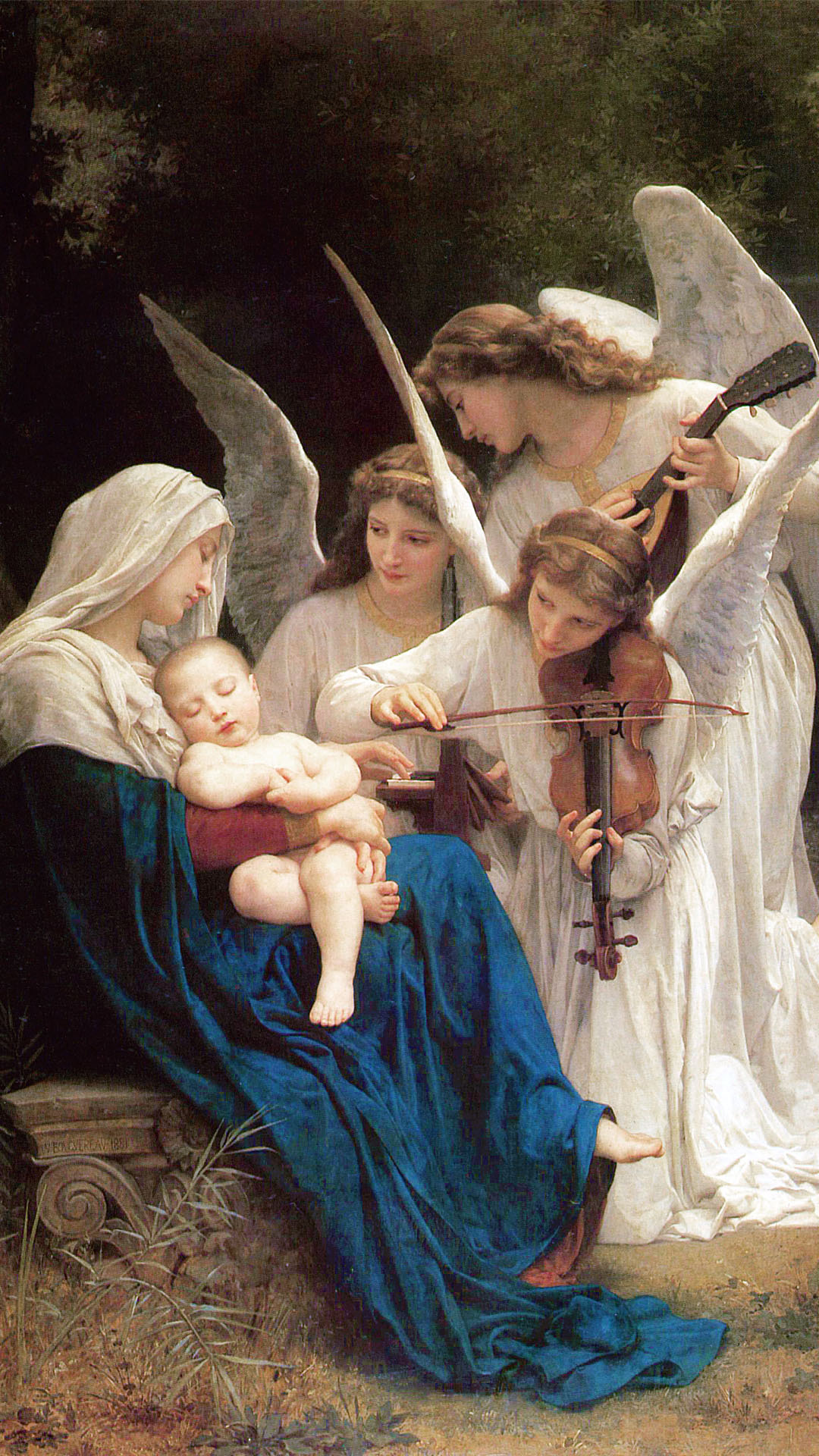 William Adolphe Bouguereau - Song of the Angels 1080x1920