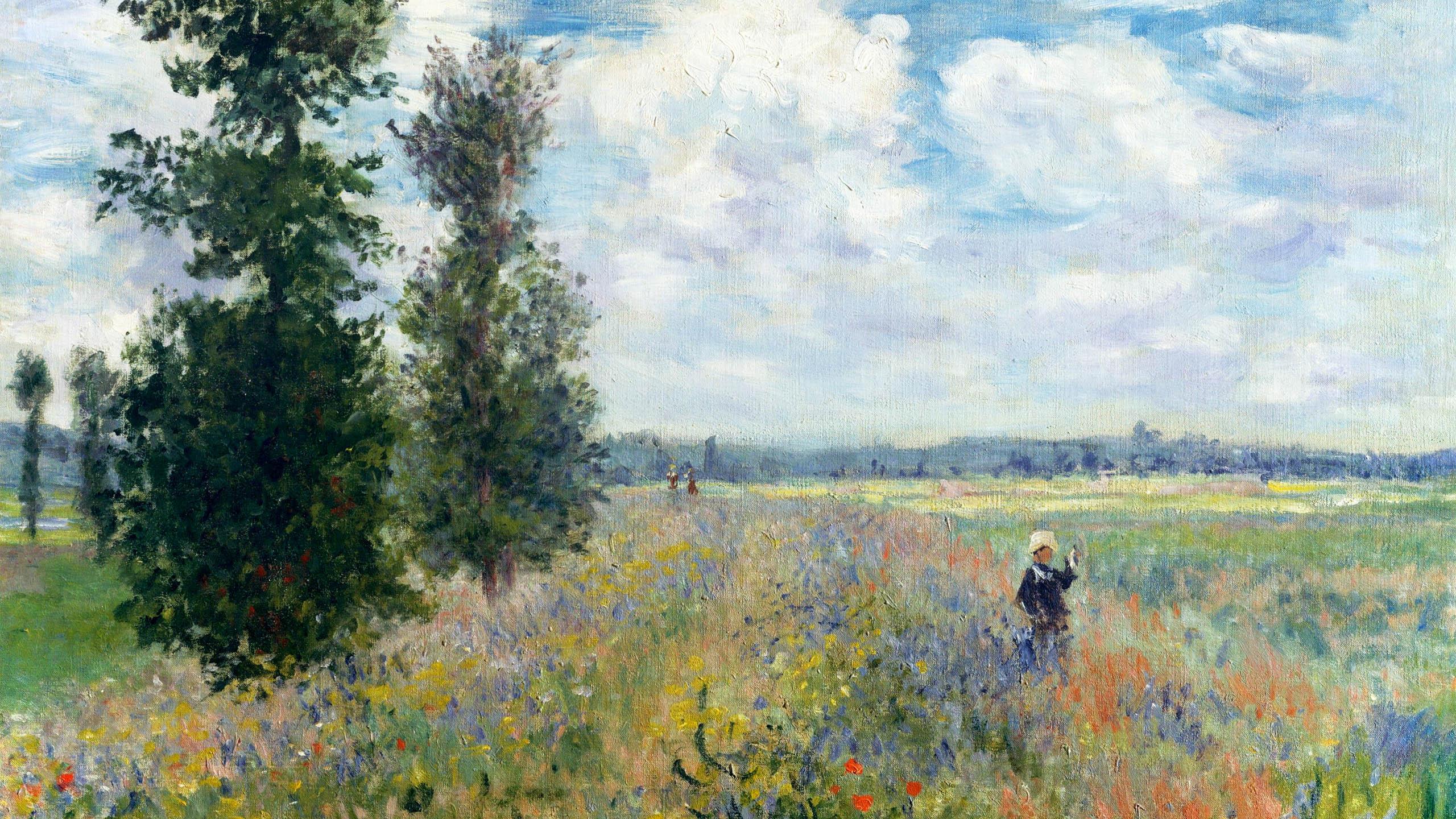 Claude Monet - poppy fields near argenteuil 2560x1440
