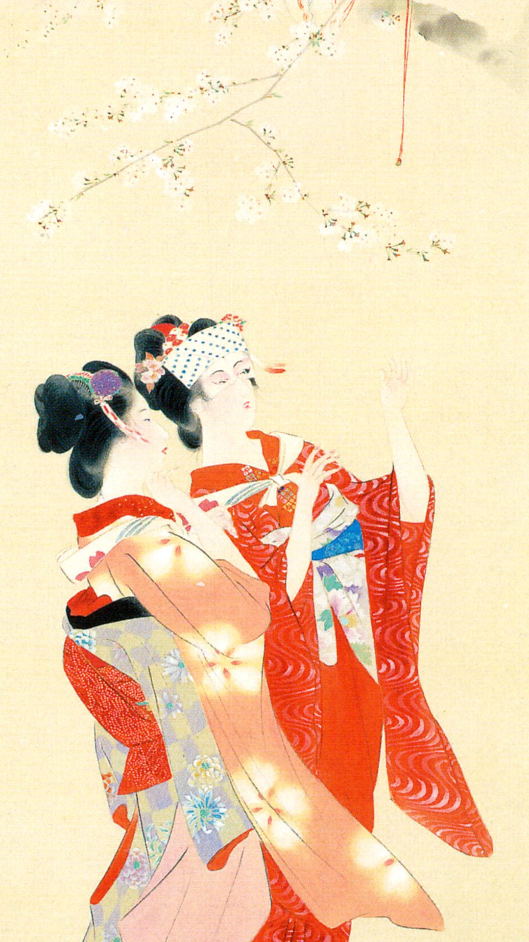 Kaburaki Kiyokata - Meiji 12 fuzoku 04 Hanami 1080x1920 2