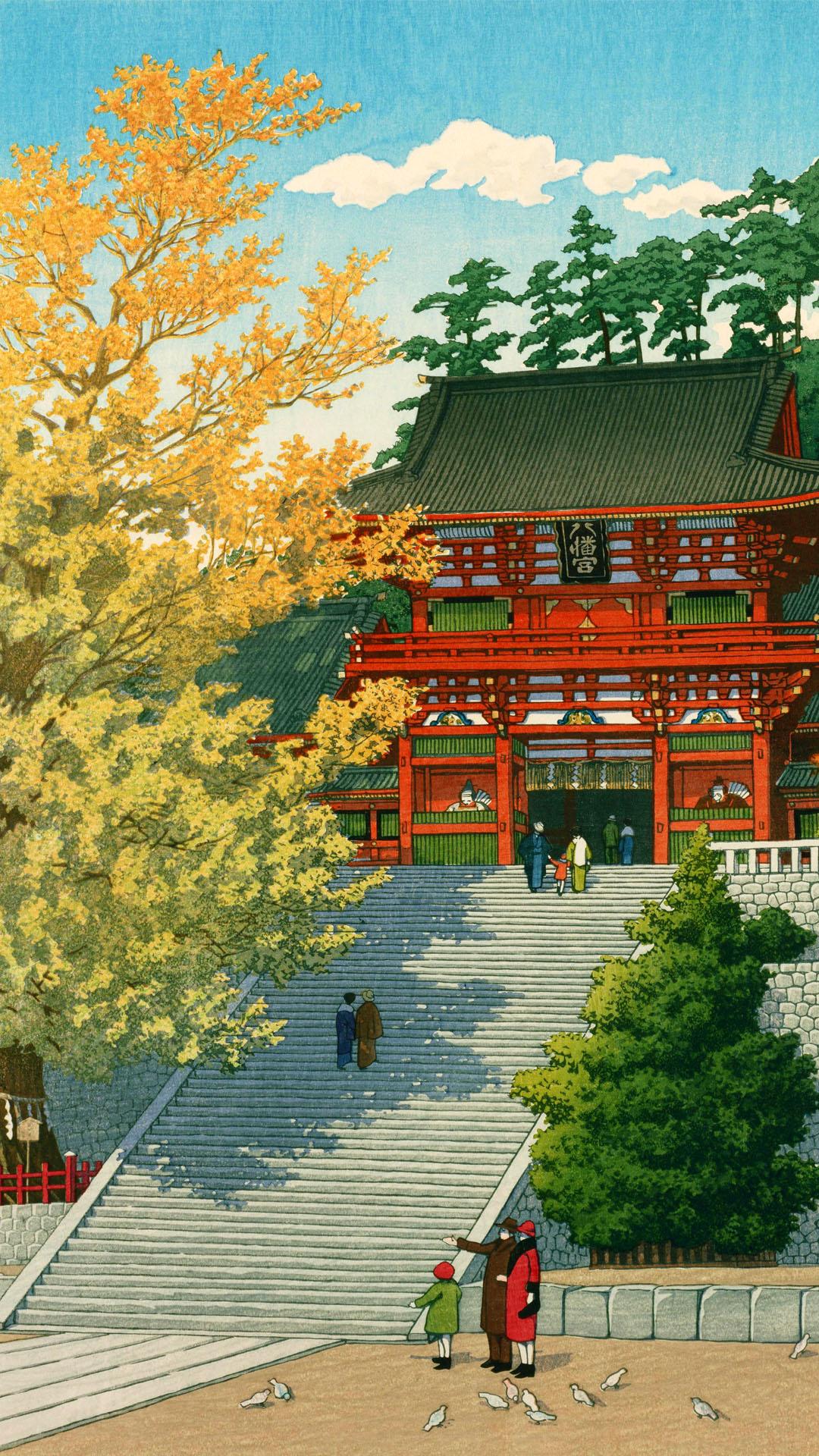 Kawase Hasui - Tsuruoka hachimangu 1080x1920