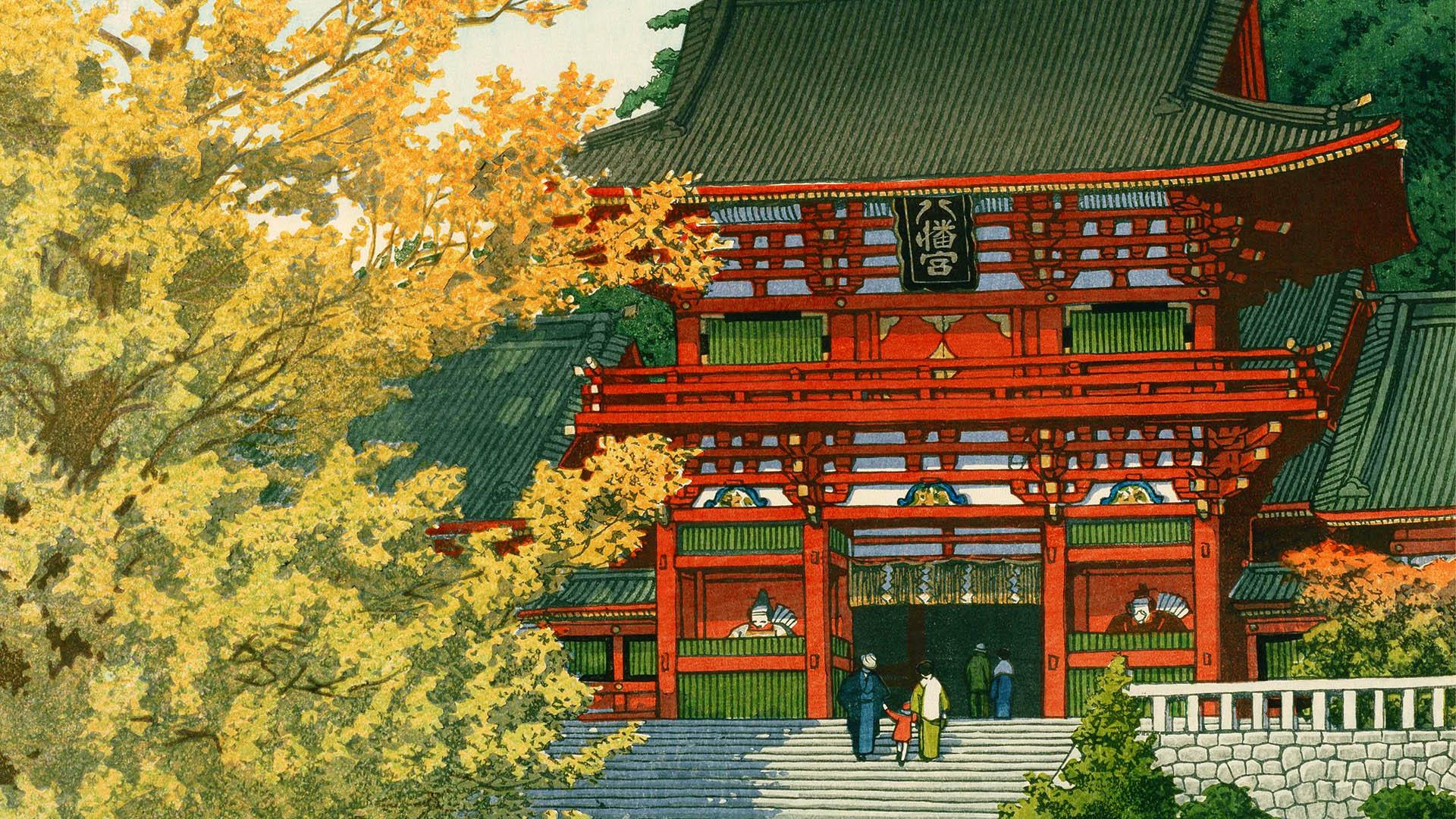 Kawase Hasui - Tsuruoka hachimangu 1920x1080