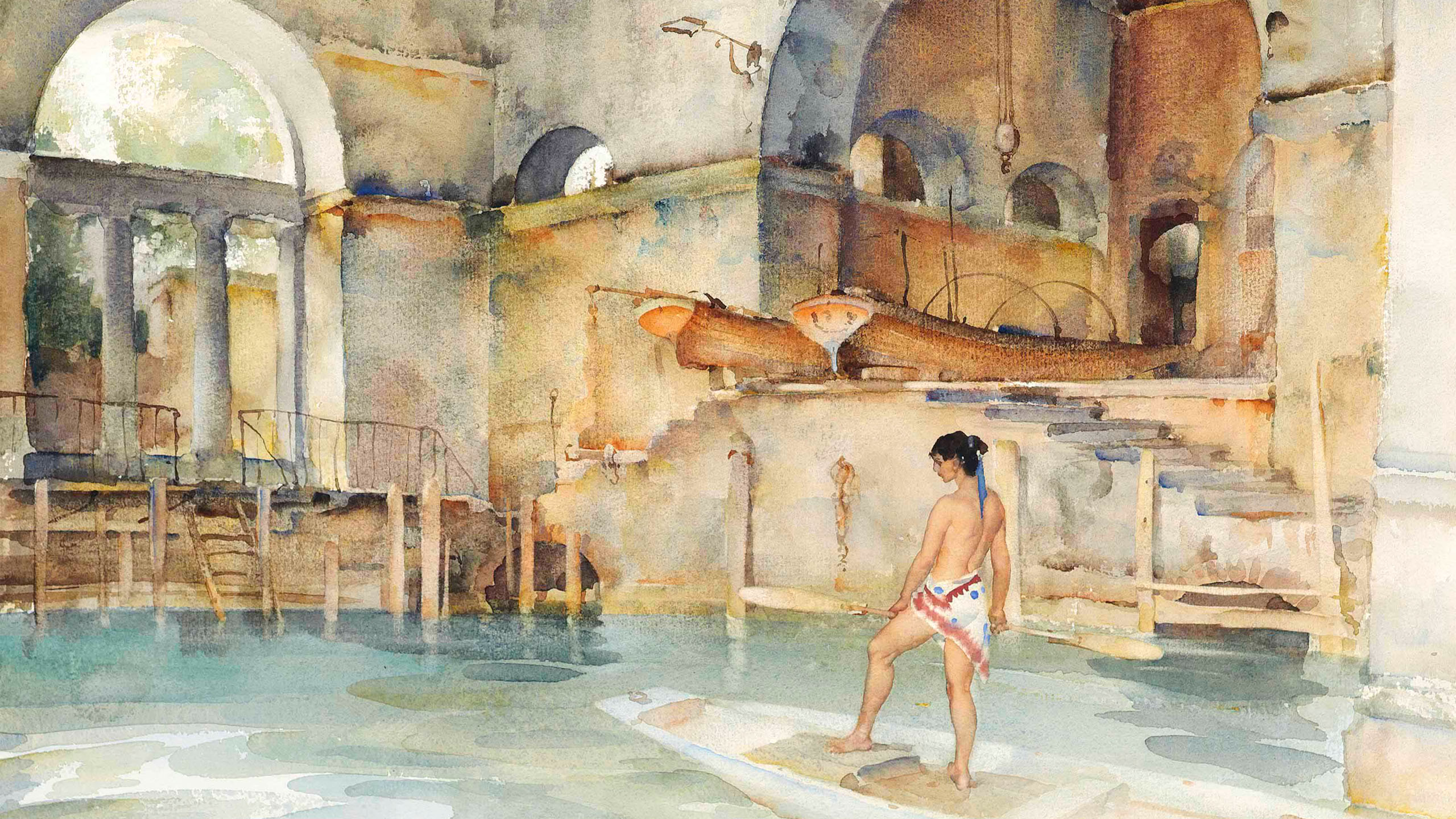 William Russell Flint - Marchesas Boathouse 2560x1440