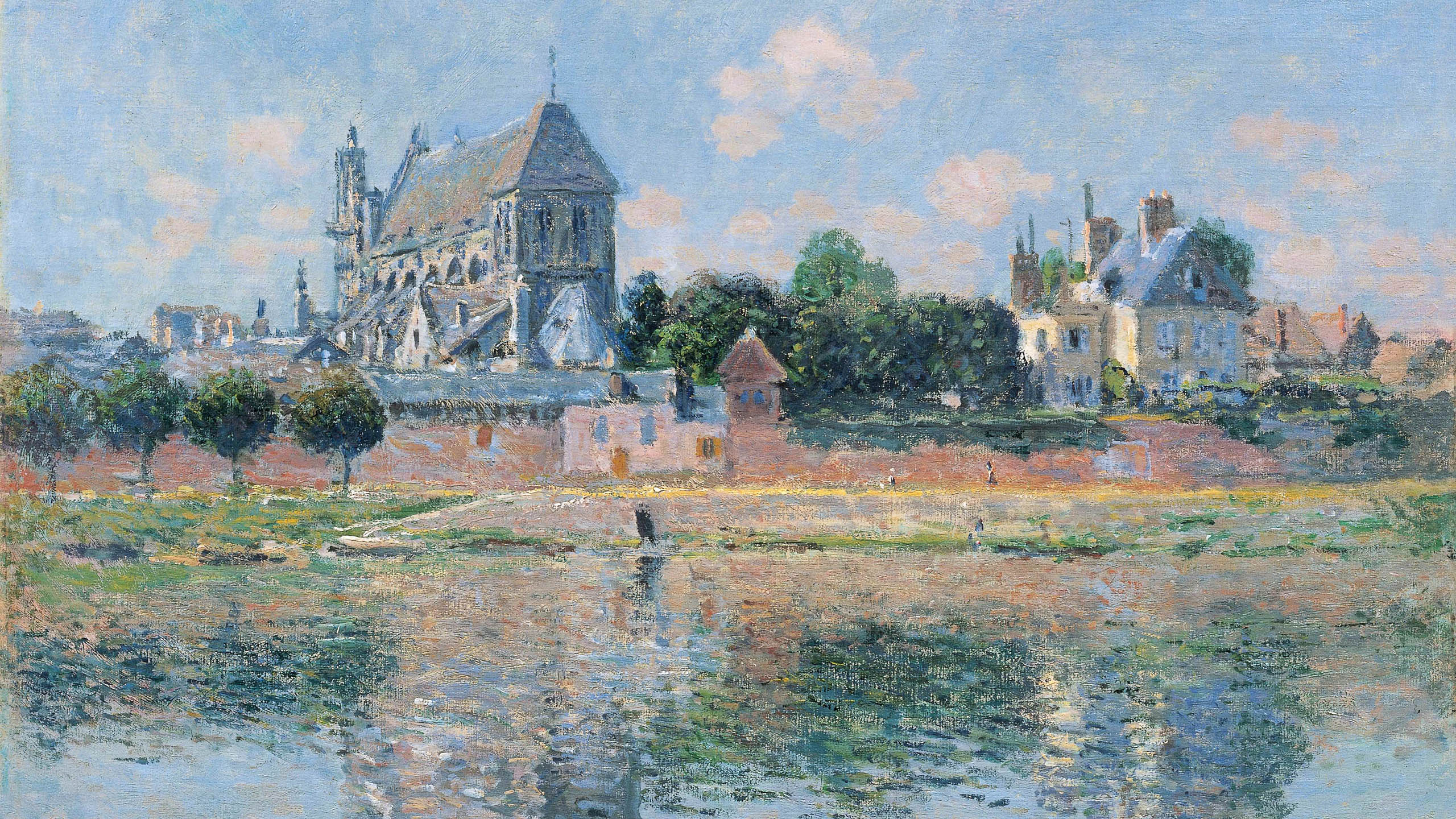 Claude Monet - View of the Church at Vernon 2560x1440