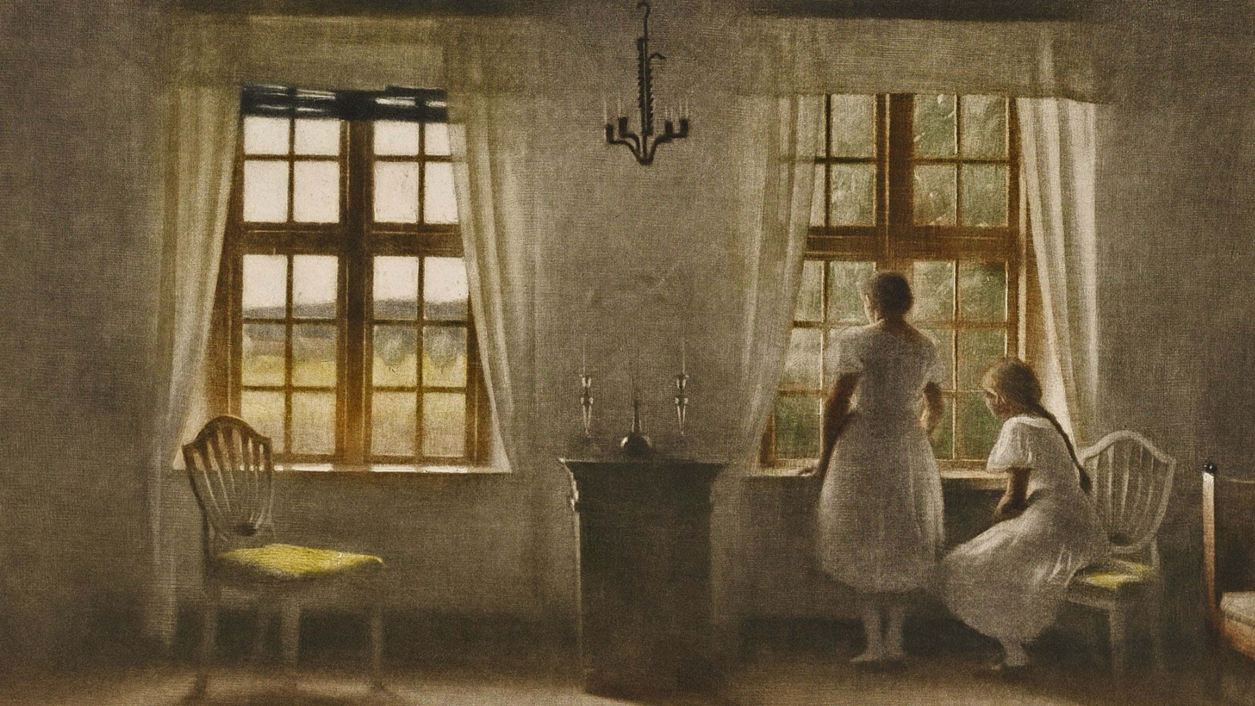 Peter Ilsted - Two Girls at a Window 2560x1440