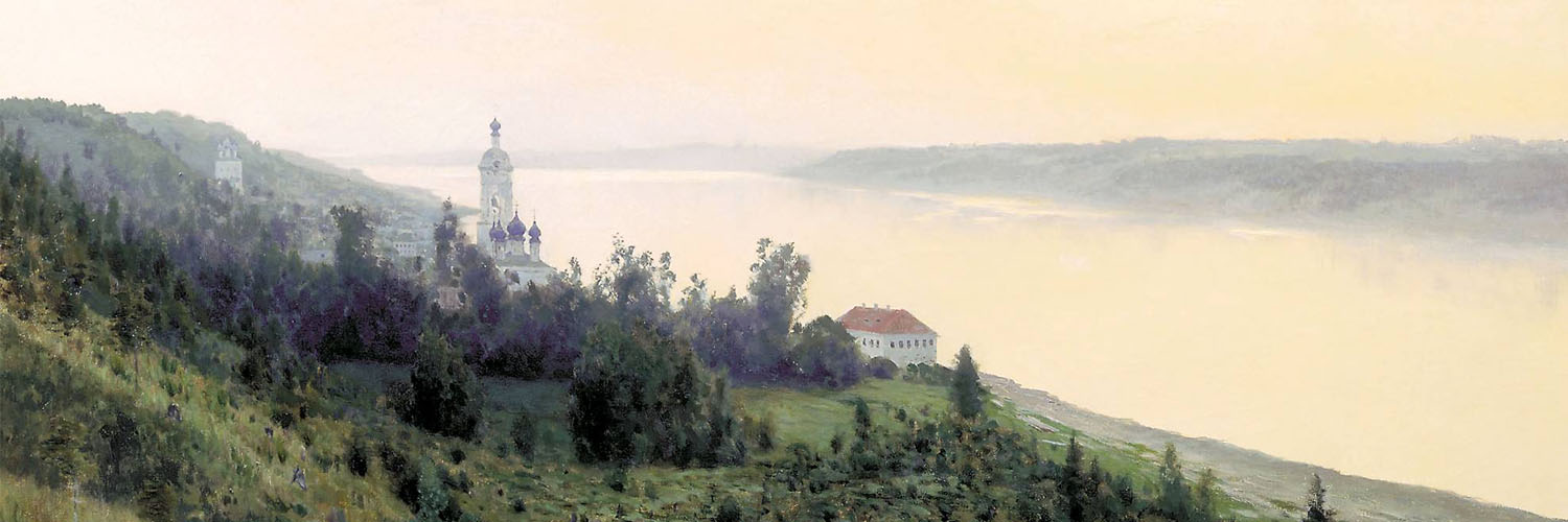Isaac Levitan - Evening. Golden Reach 1500x500