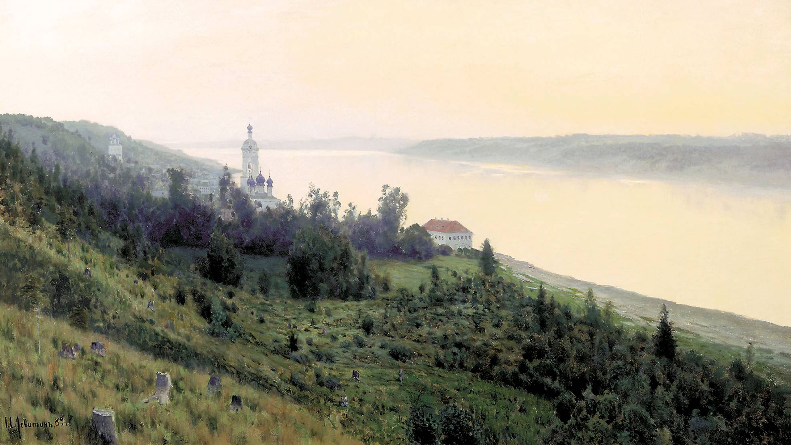 Isaac Levitan - Evening. Golden Reach 2560x1440