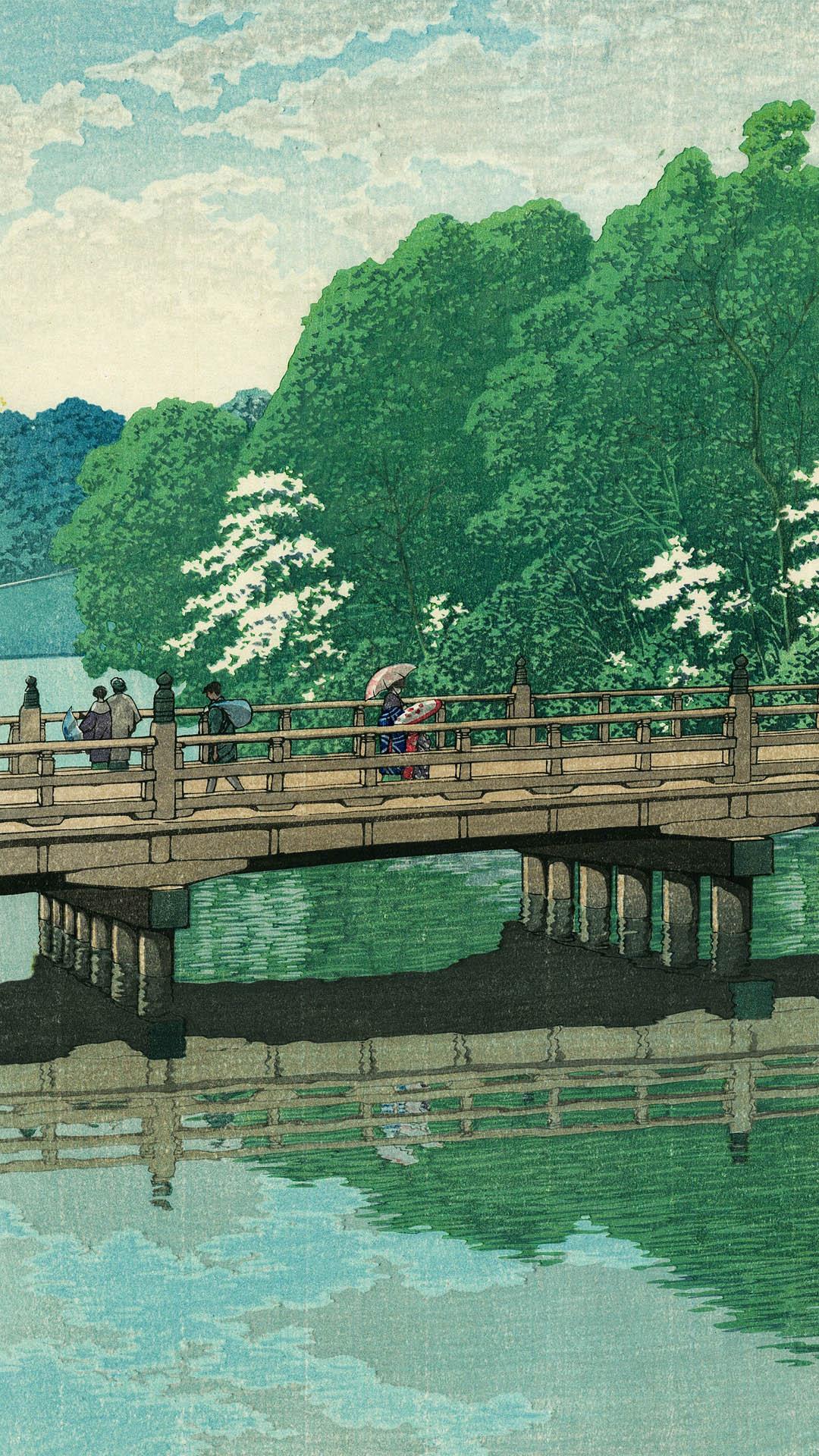 Kawase Hasui - Akasaka bentenbashi 1080x1920