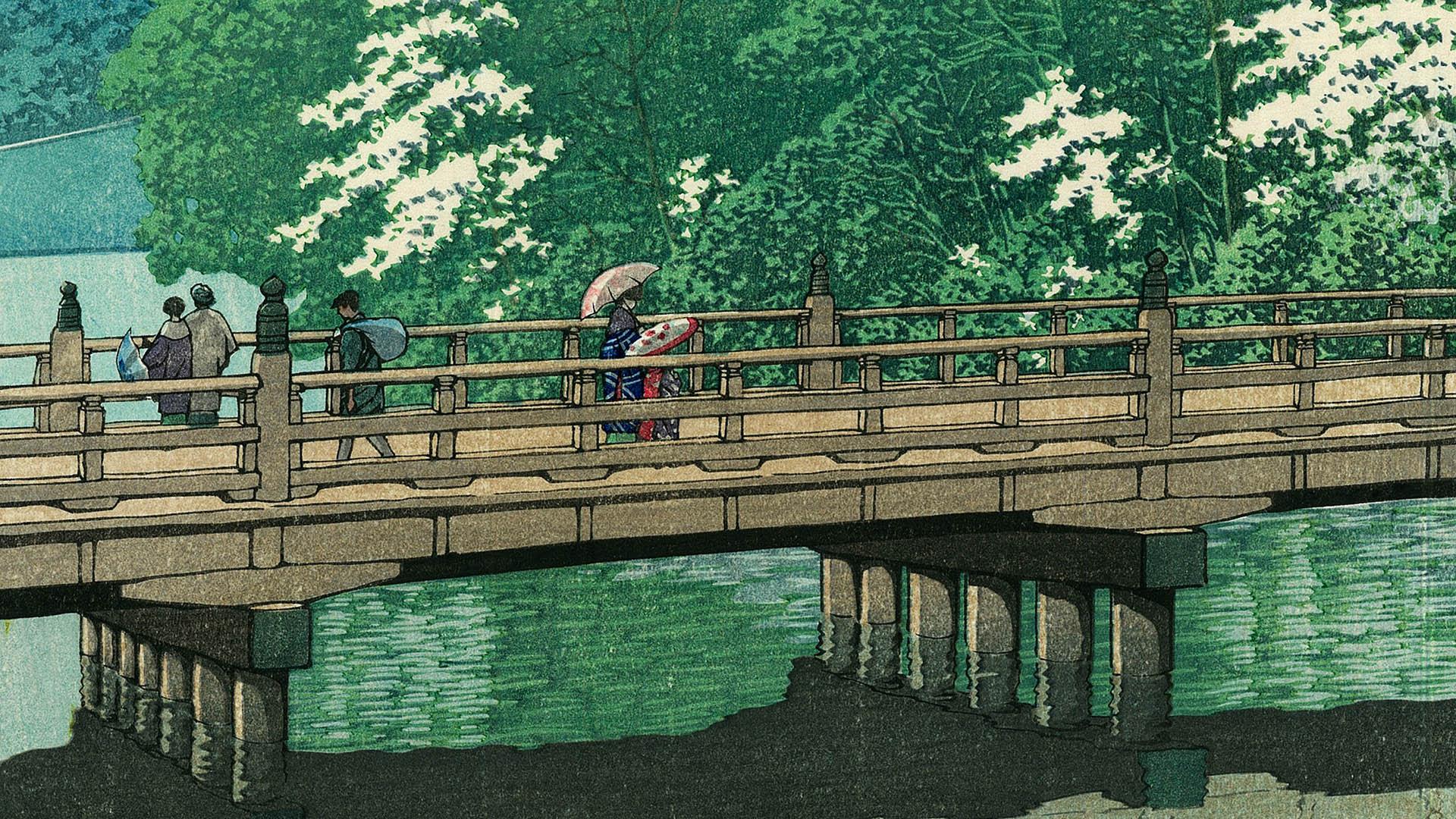 Kawase Hasui - Akasaka bentenbashi 1920x1080