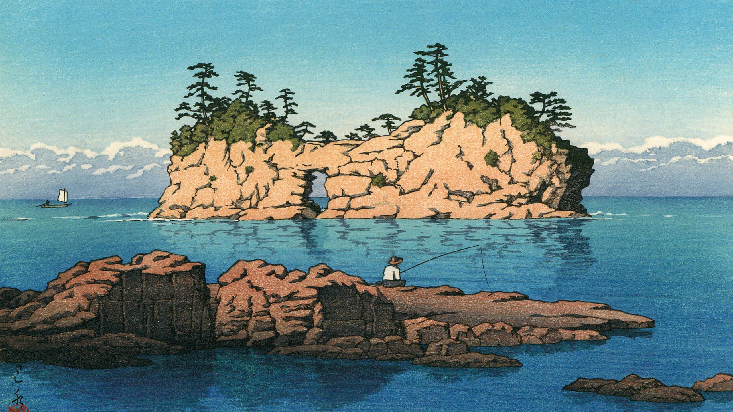 Kawase Hasui - Shirahama engetsu tou 2560x1440