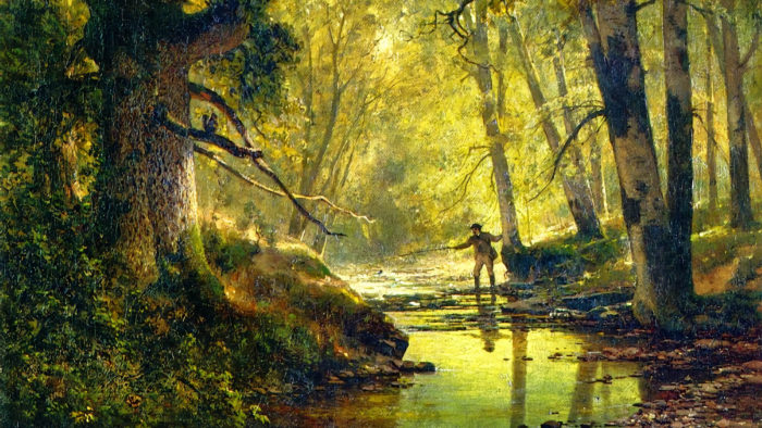 Thomas Hill - Angler in a Forest Interior 1920x1080