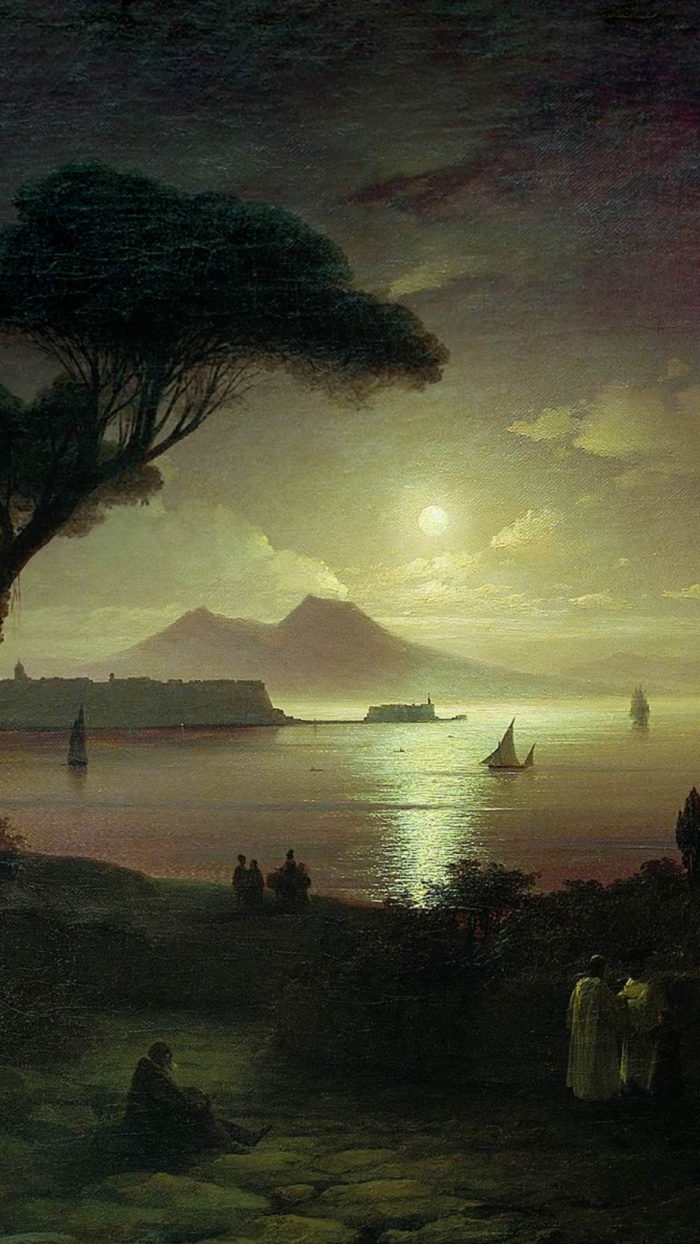 Ivan Aivazovsky - The Bay of Naples at moonlit night 1080x1920