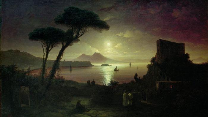 Ivan Aivazovsky - The Bay of Naples at moonlit night 2560x1440