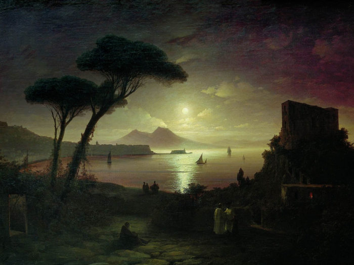 Ivan Aivazovsky - The Bay of Naples at moonlit night 2732x2048