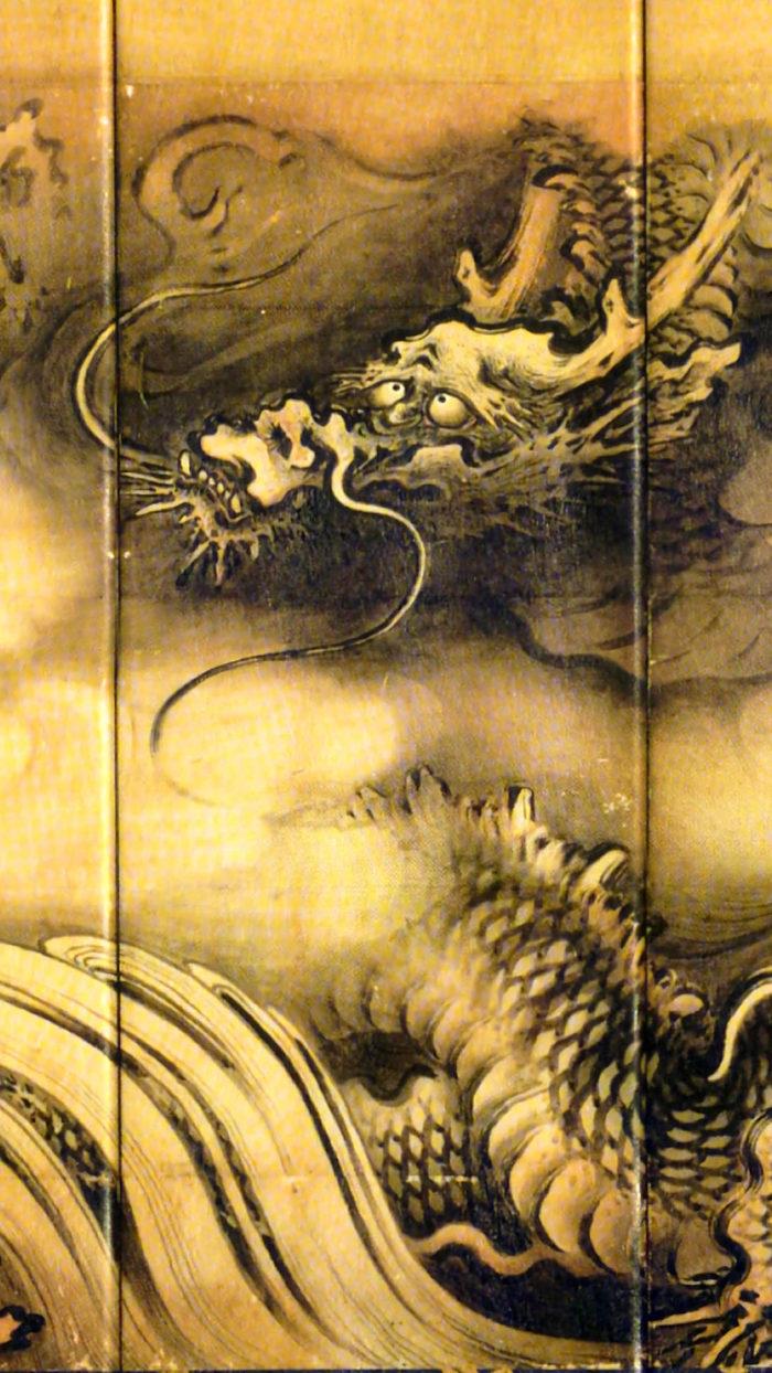 Kano Sansetsu - Ryuko zu byobu ryu 1080x1920