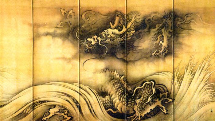 Kano Sansetsu - Ryuko zu byobu ryu 1920x1080