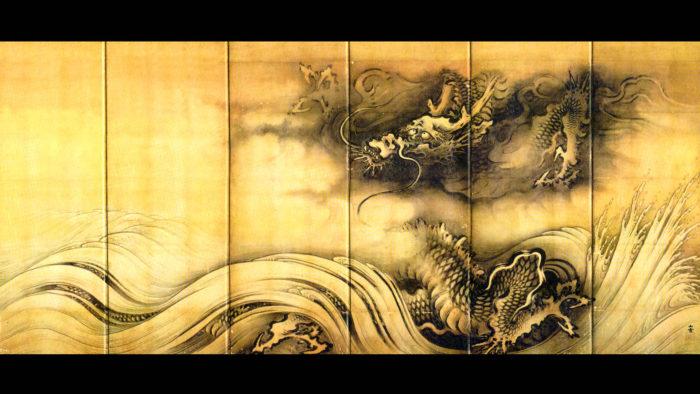 Kano Sansetsu - Ryuko zu byobu ryu 1920x1080 2