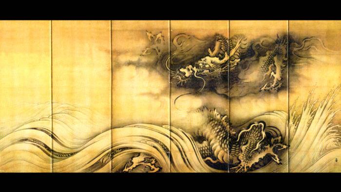 Kano Sansetsu - Ryuko zu byobu ryu 2560x1440 2
