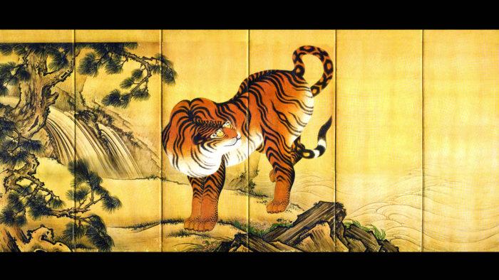Kano Sansetsu - Ryuko zu byobu tora 1920x1080 2