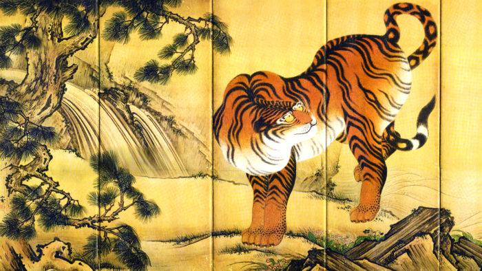 Kano Sansetsu - Ryuko zu byobu tora 2560x1440 2