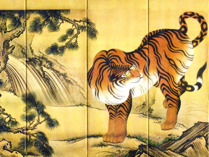 Kano Sansetsu - Ryuko zu byobu tora 2732x2048