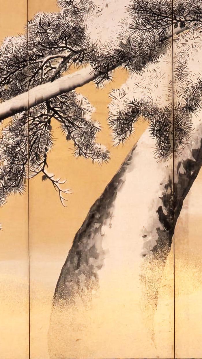 Maruyama Okyo - Yukimatsu zu byobu 1080x1920