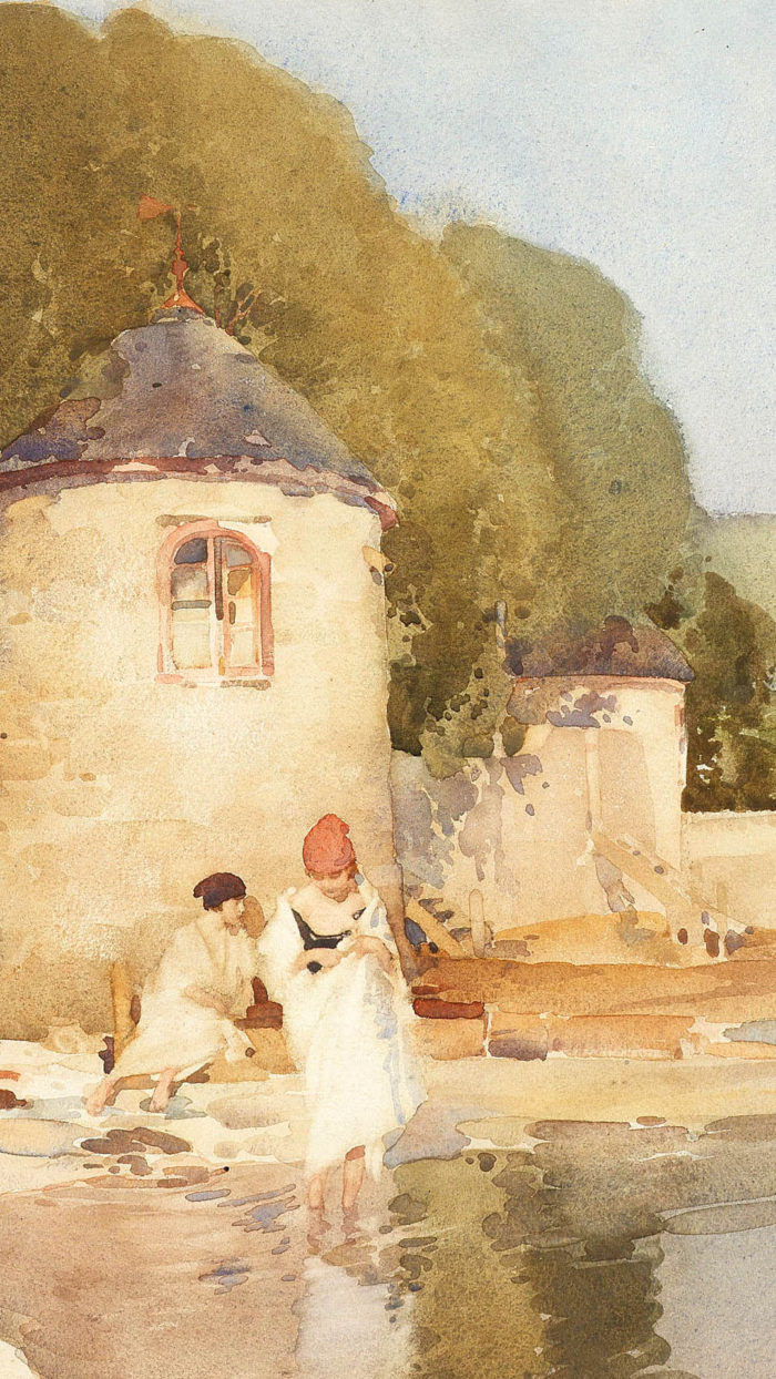 William Russell Flint - The Twin Towers, Shandon 1080x1920