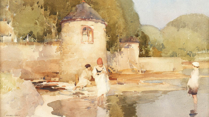 William Russell Flint - The Twin Towers, Shandon 1920x1080